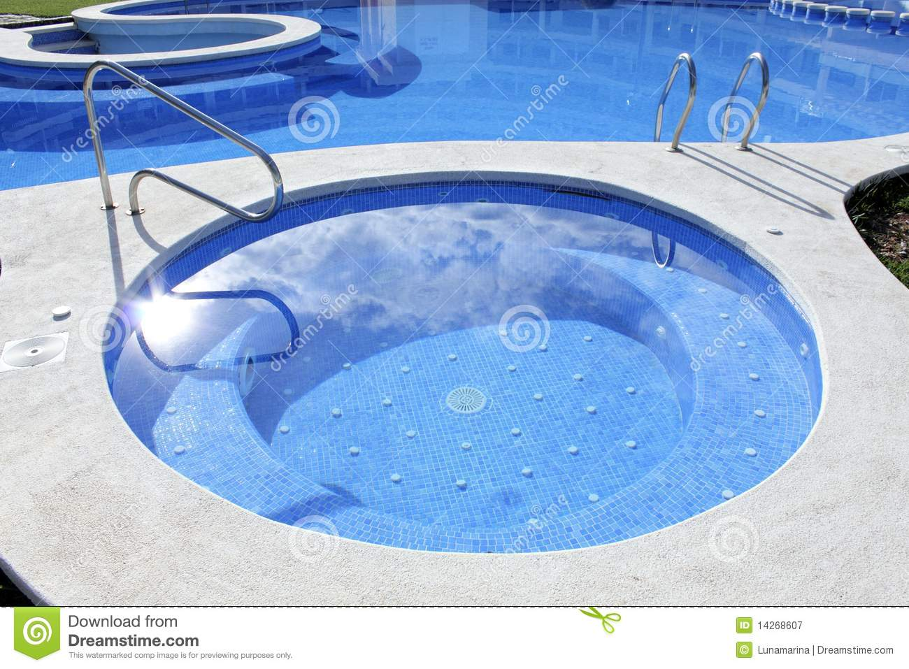 Jacuzzi outdoor blue swimming pool stock image image for Pool time pools