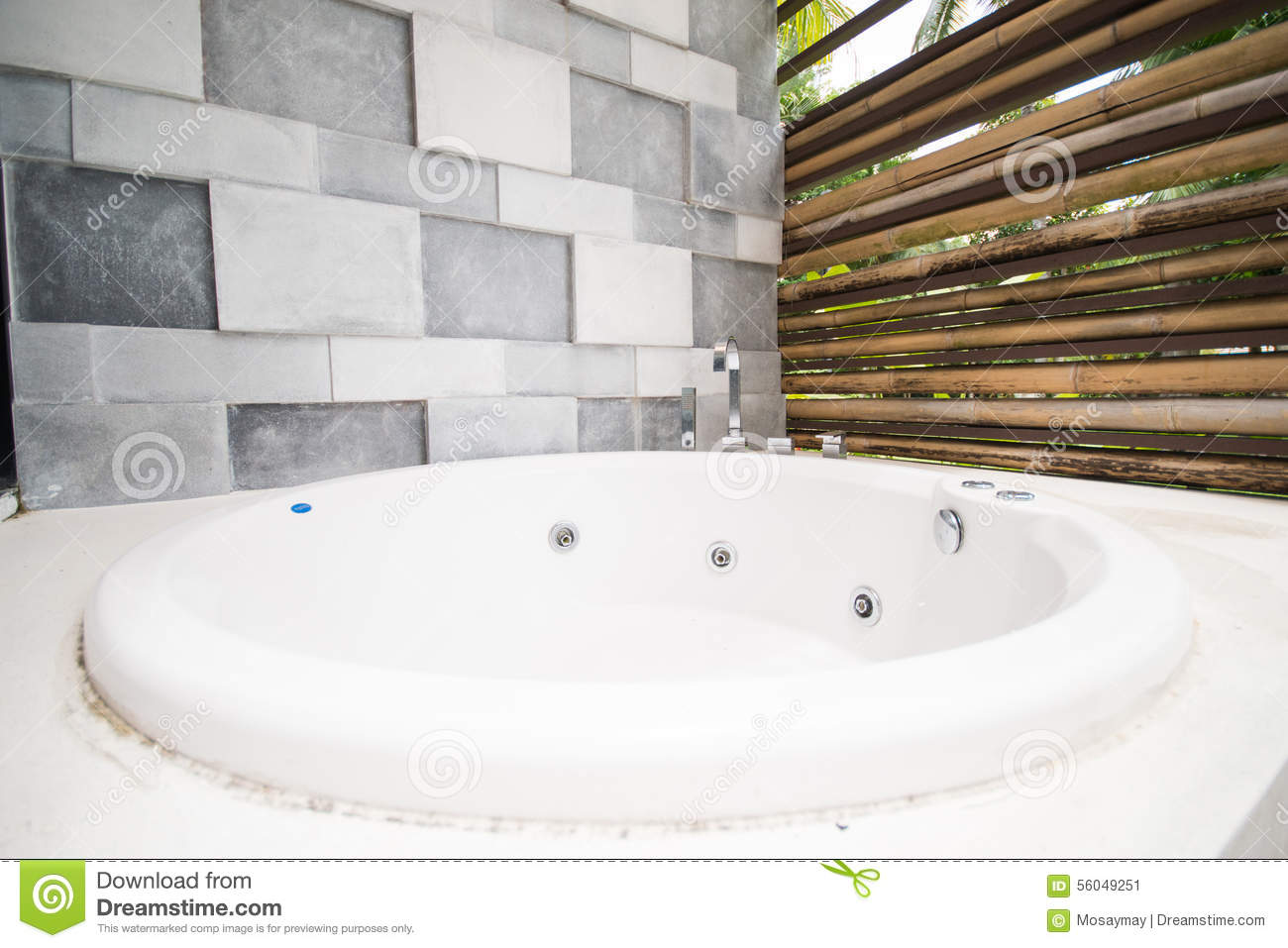Jacuzzi Tub Outside The Room In Hotel Stock Image - Image of health ...