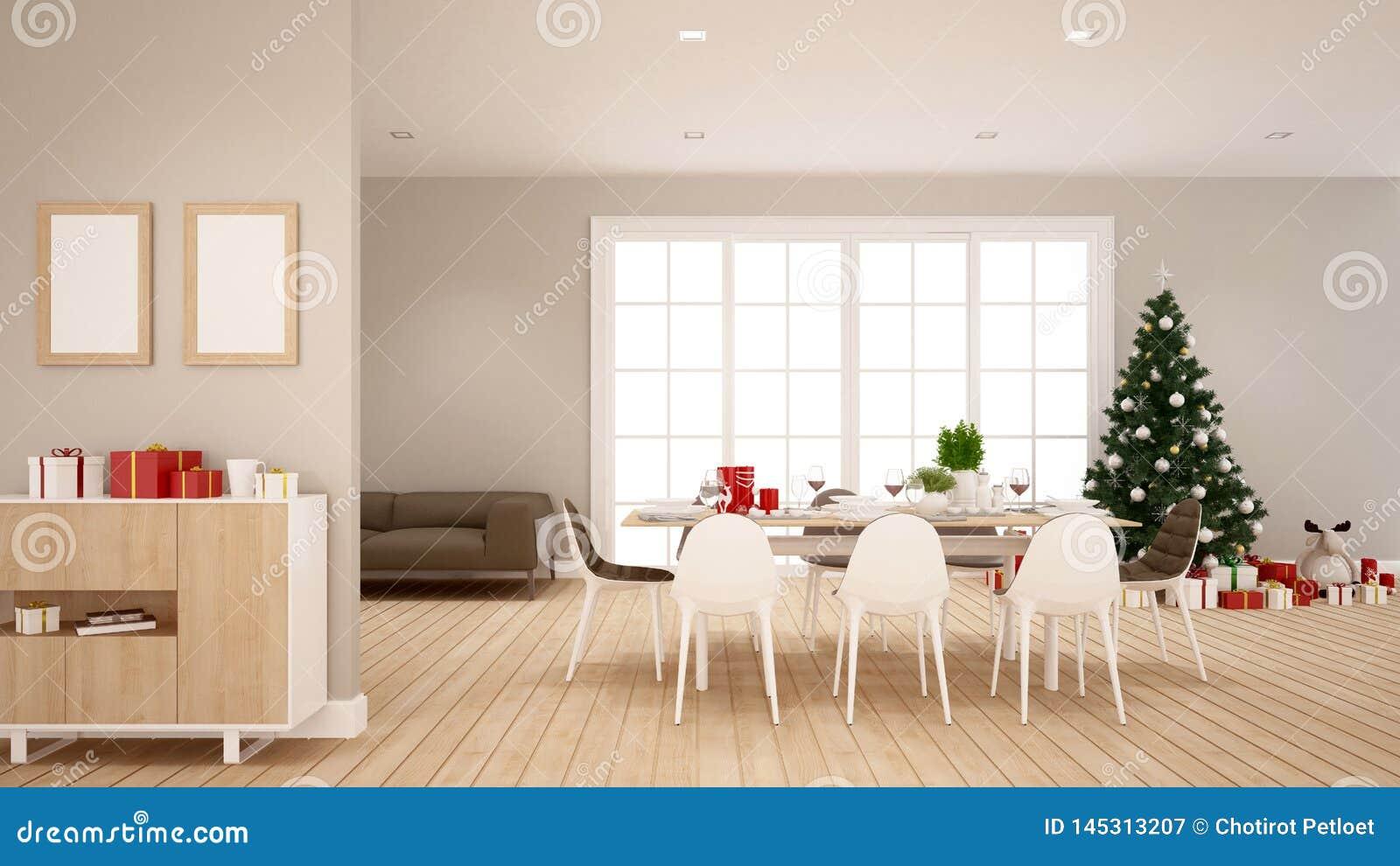 Jadalnia i choinka w domowym ro mieszkaniu 3D rendering - ilustracja dla święto bożęgo narodzenia -