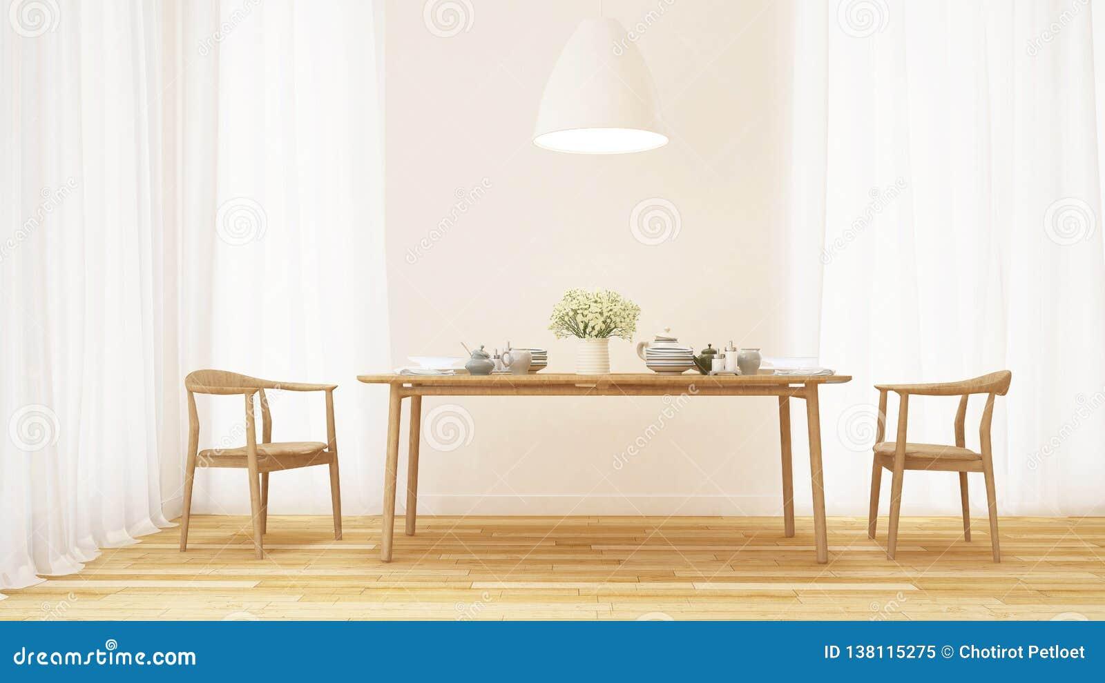 Jadalnia i kuchenny ustawiający w czystym pokoju - 3D rendering