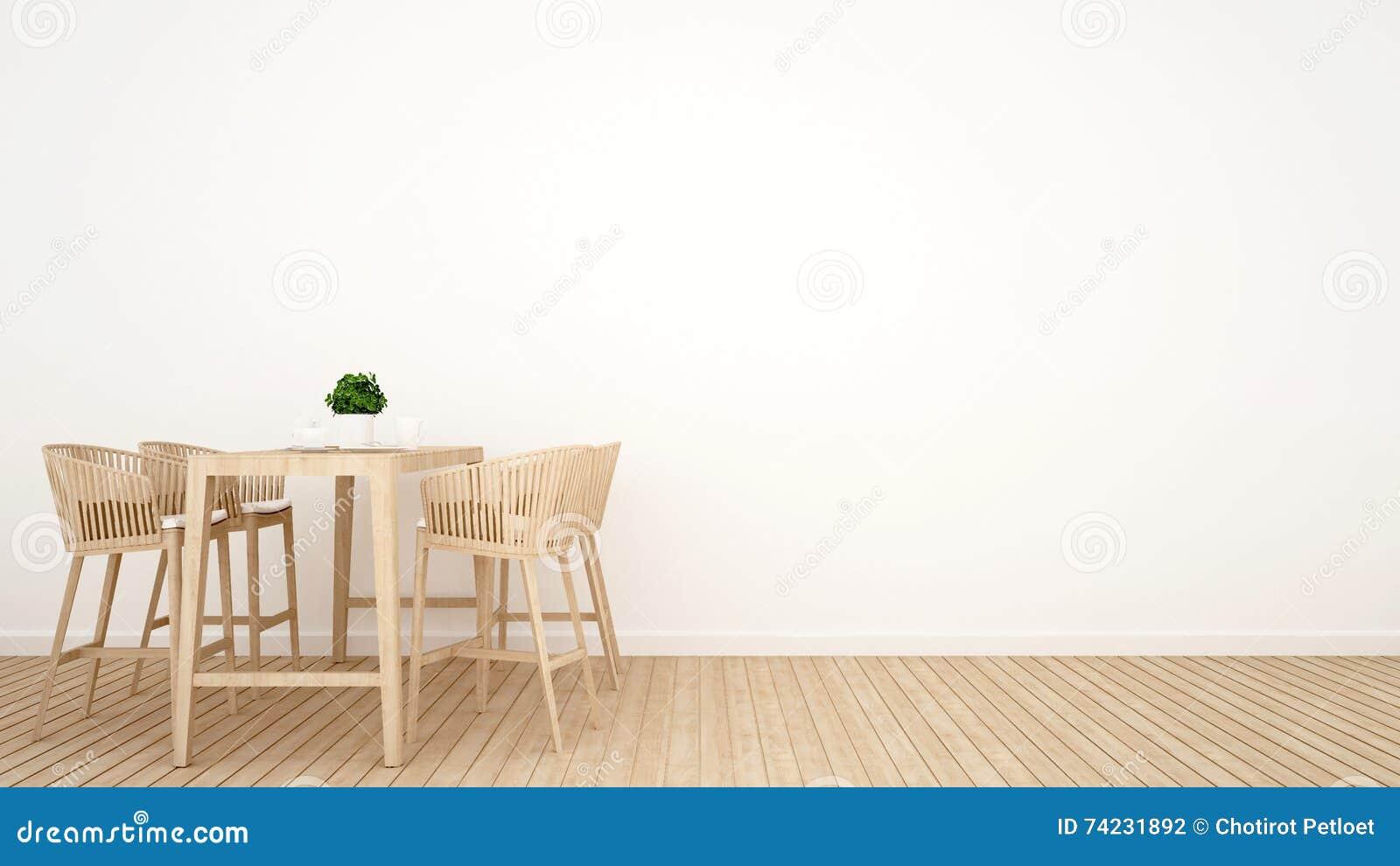 Jadalnia na drewnianym projekcie - 3D rendering