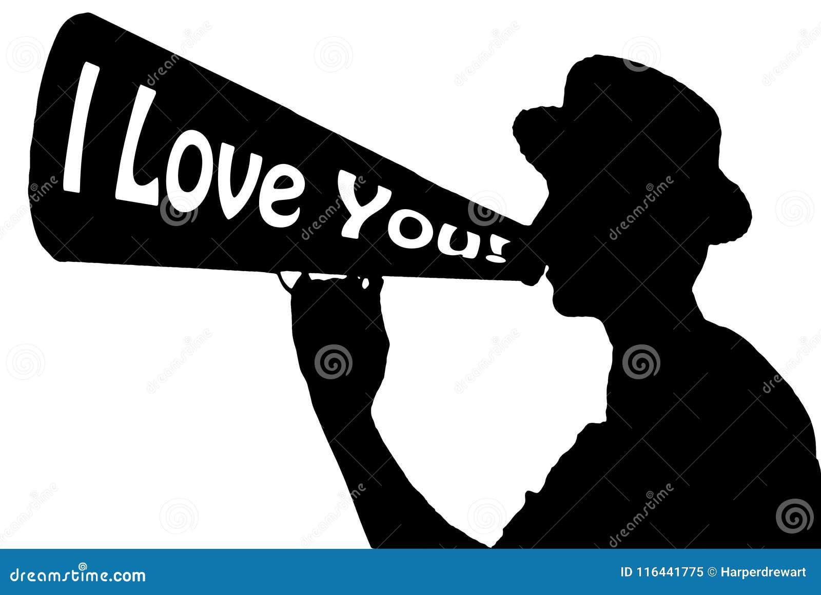 Jag älskar dig gillandeberömhallåman med megafonen