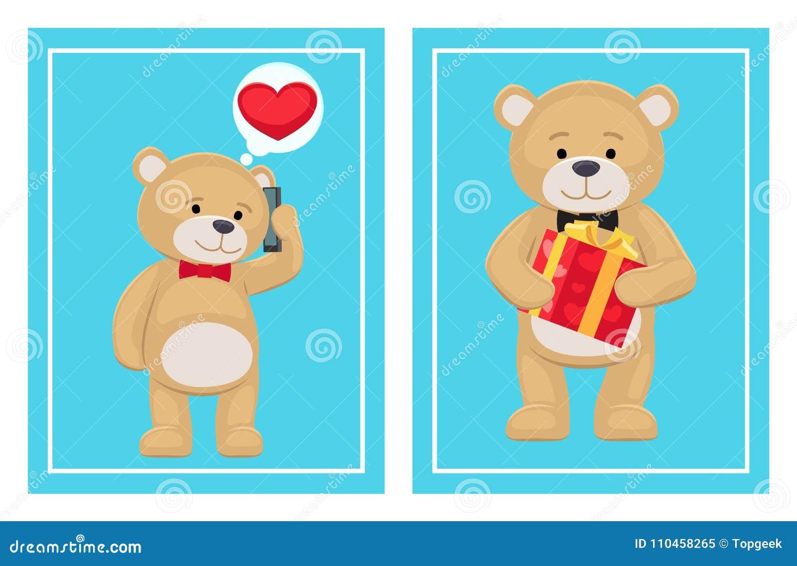 Jag älskar dig och mig Teddy Bears Vector
