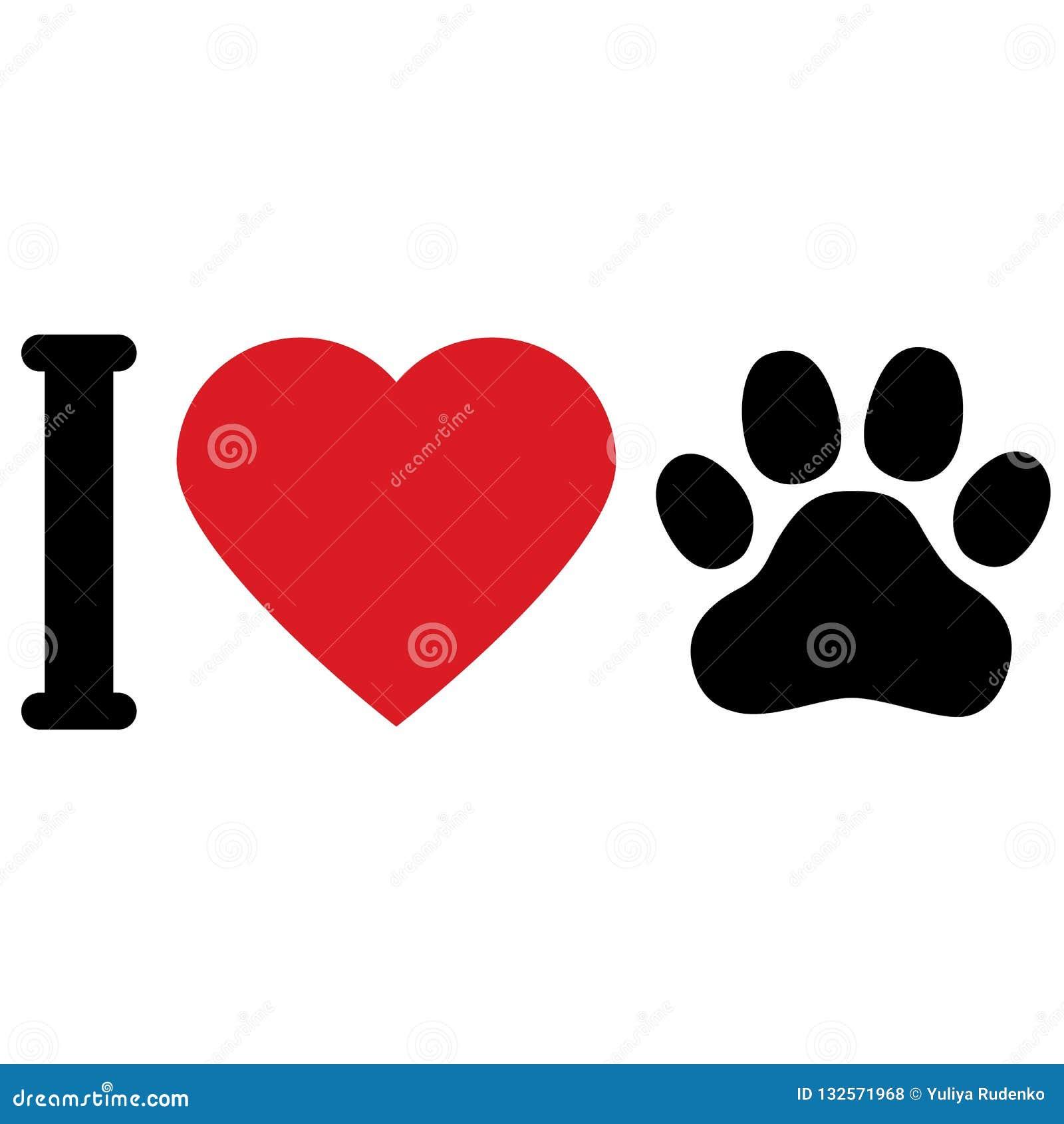 Jag älskar djurhundkapplöpning Jag älskar mitt husdjur Symbolisk inskrift symbol