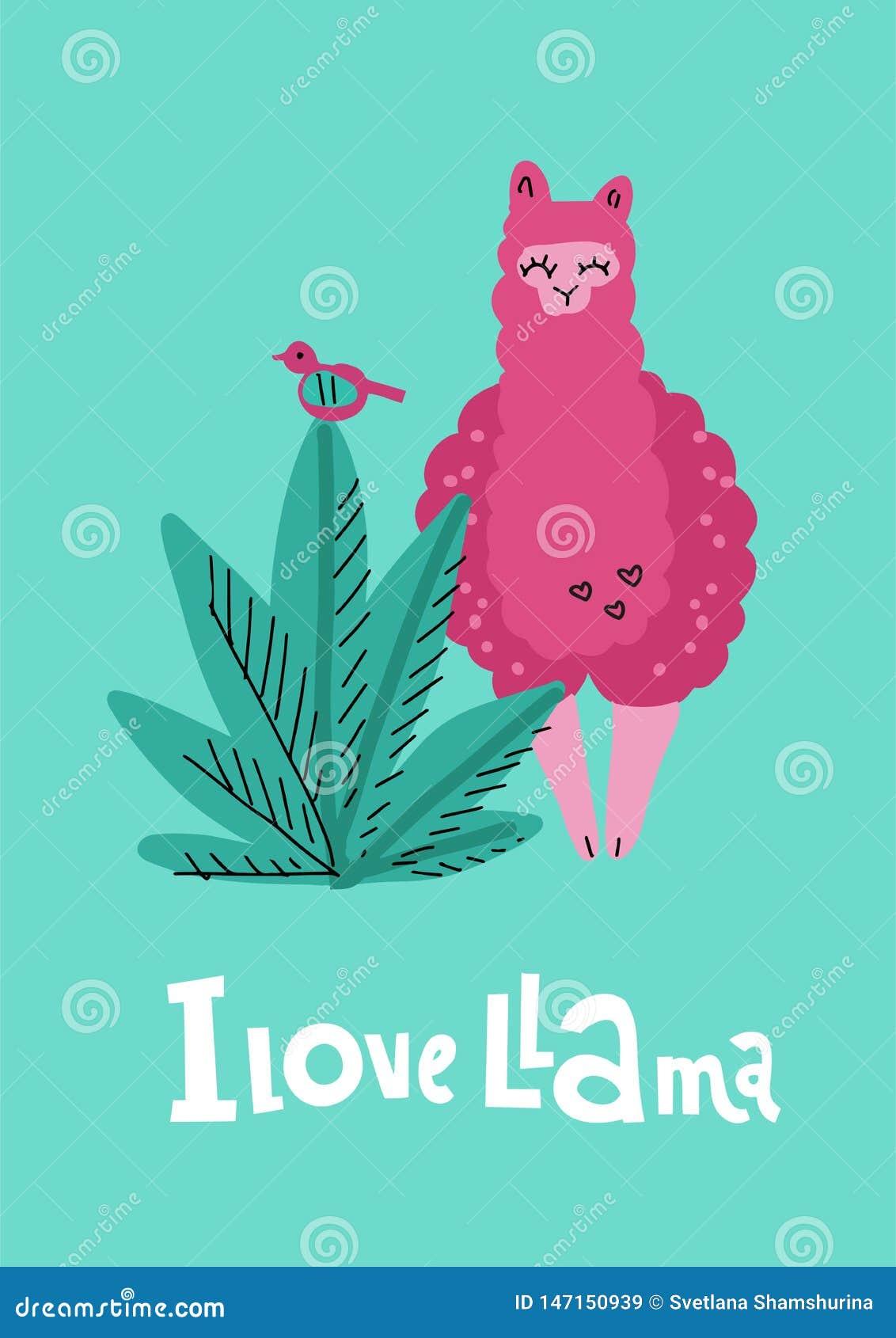 Jag älskar laman som gör grön kortet med utdragen alpaca för rosa hand med växten, fågel och märker qoute Vektorn behandla som et