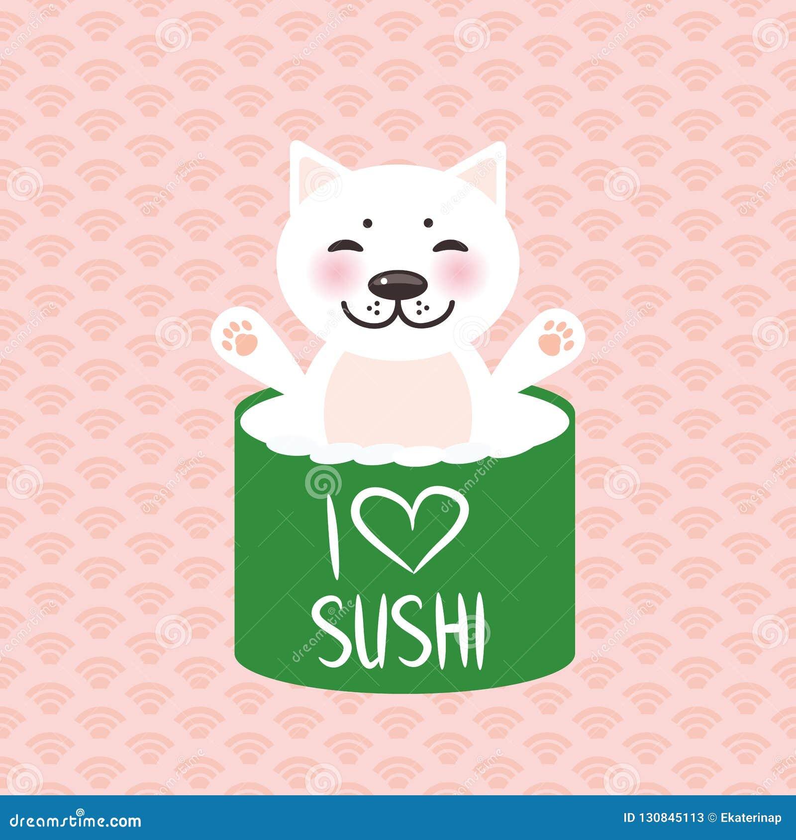 Jag älskar sushi Kawaii roliga sushirullar och vit gullig katt med rosa kinder, emoji Rosa bakgrund med den japanska cirkelmodell