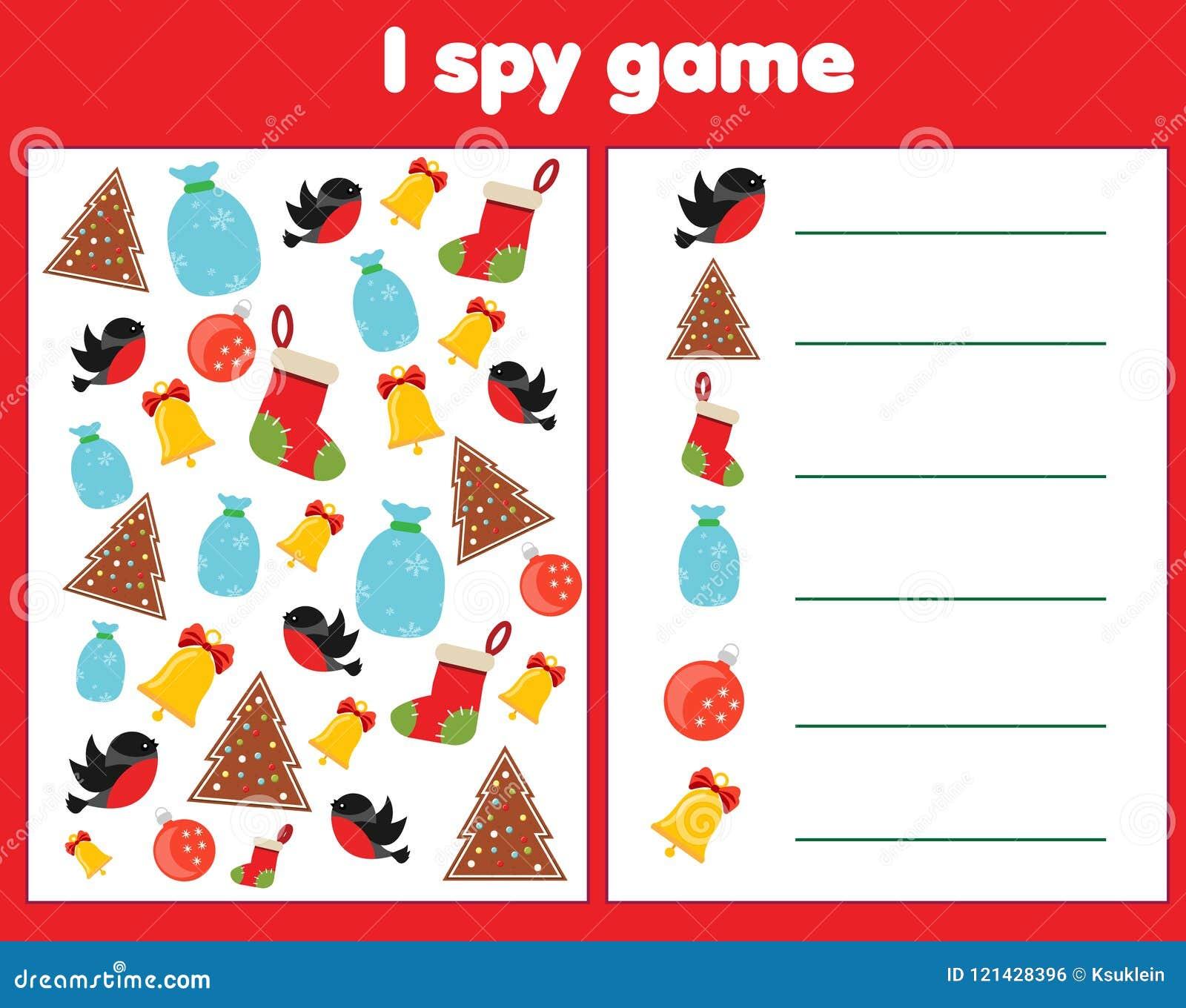 Jag spionerar leken för små barn Fynd- och räkningsobjekt Räkna bildande barnaktivitet Jul och ferietema för nytt år