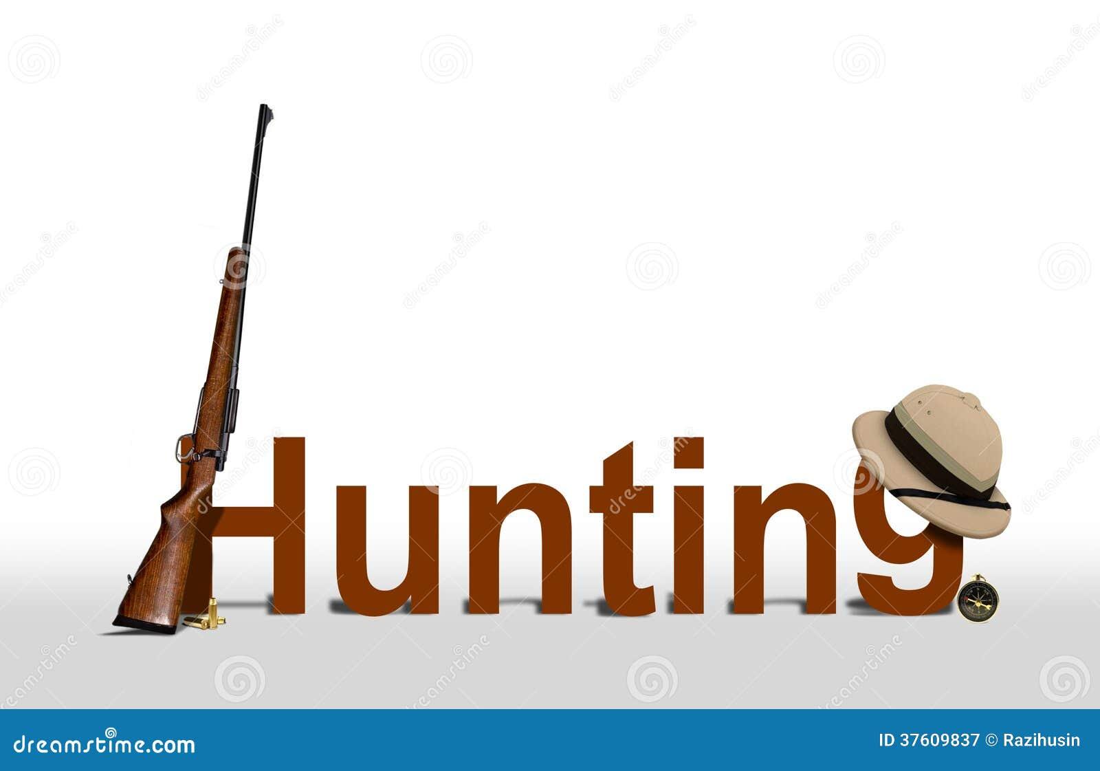 Jagd-Zeichen mit Gewehr und Hut