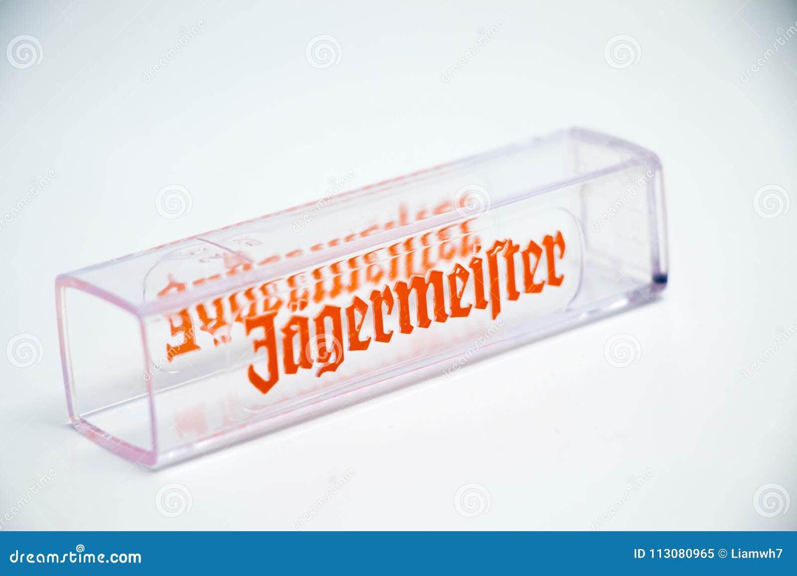 Geneva / Switzerland - March 20, 2018 : jagermeister Liquor shot glass brand logo deer