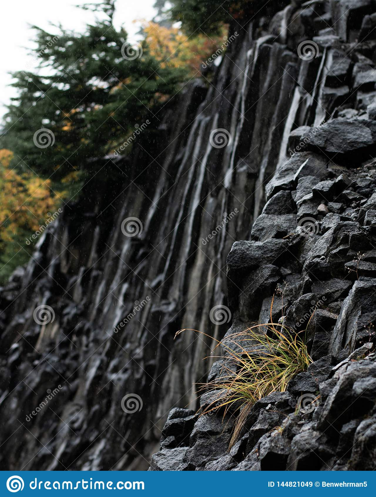 Jagged Rock Face on the Mountain
