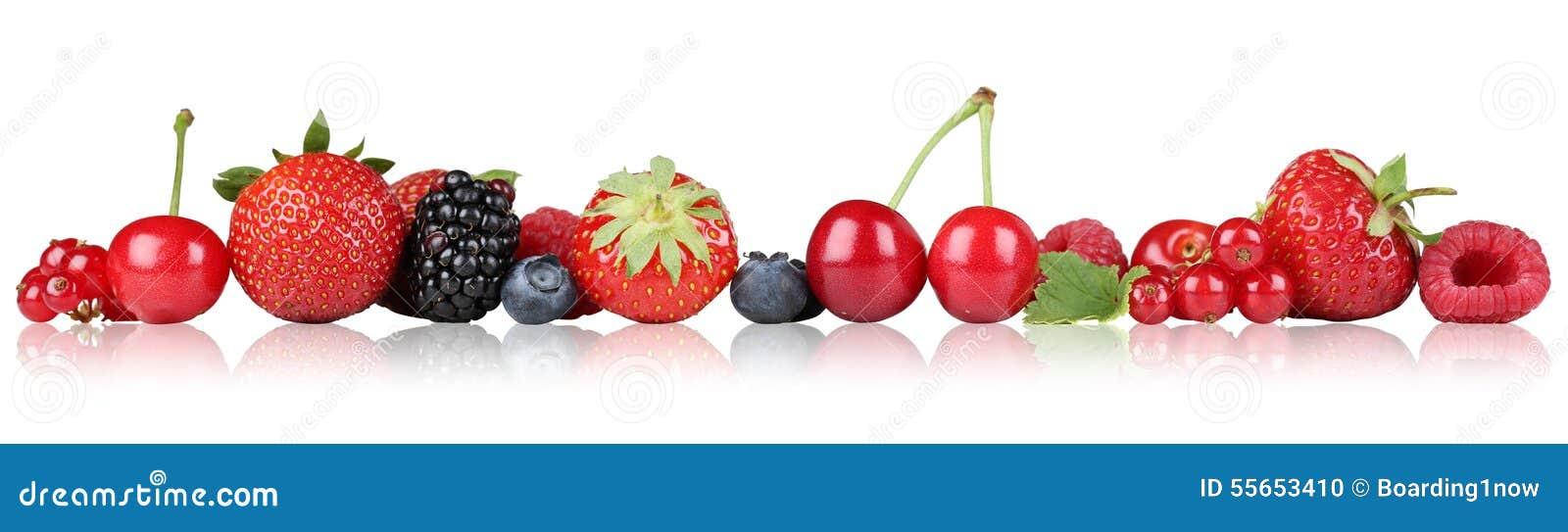 Jagodowe owoc graniczą truskawkowej malinki, wiśnie z rzędu