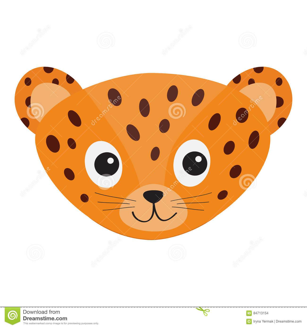 Jaguar Leopard head. Wild cat smiling face. Orange panther with spot. Cute cartoon character. Baby animal collection. Childish dra