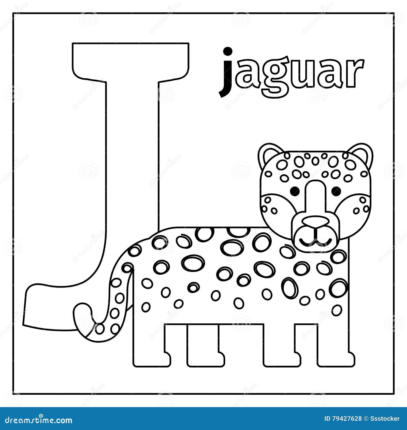 Jaguar Letter J Coloring Page