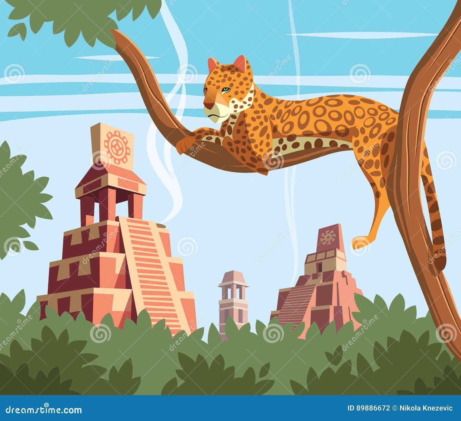 Jaguar na drzewnych i Antycznych Majskich ostrosłupach w tle
