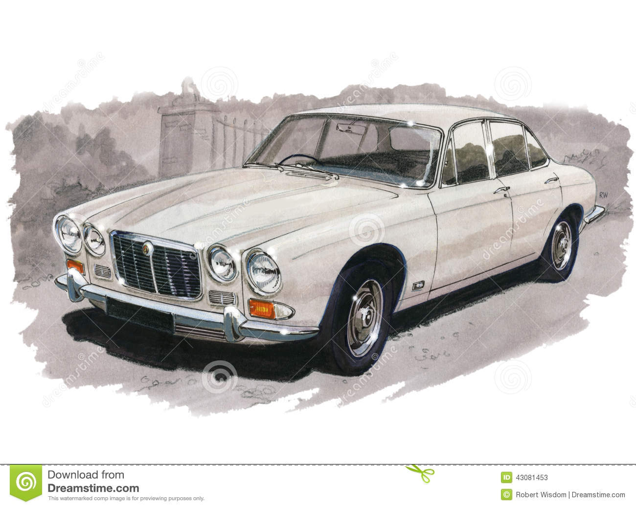 jaguar xj6 series 1 editorial stock photo illustration of painting 43081453. Black Bedroom Furniture Sets. Home Design Ideas