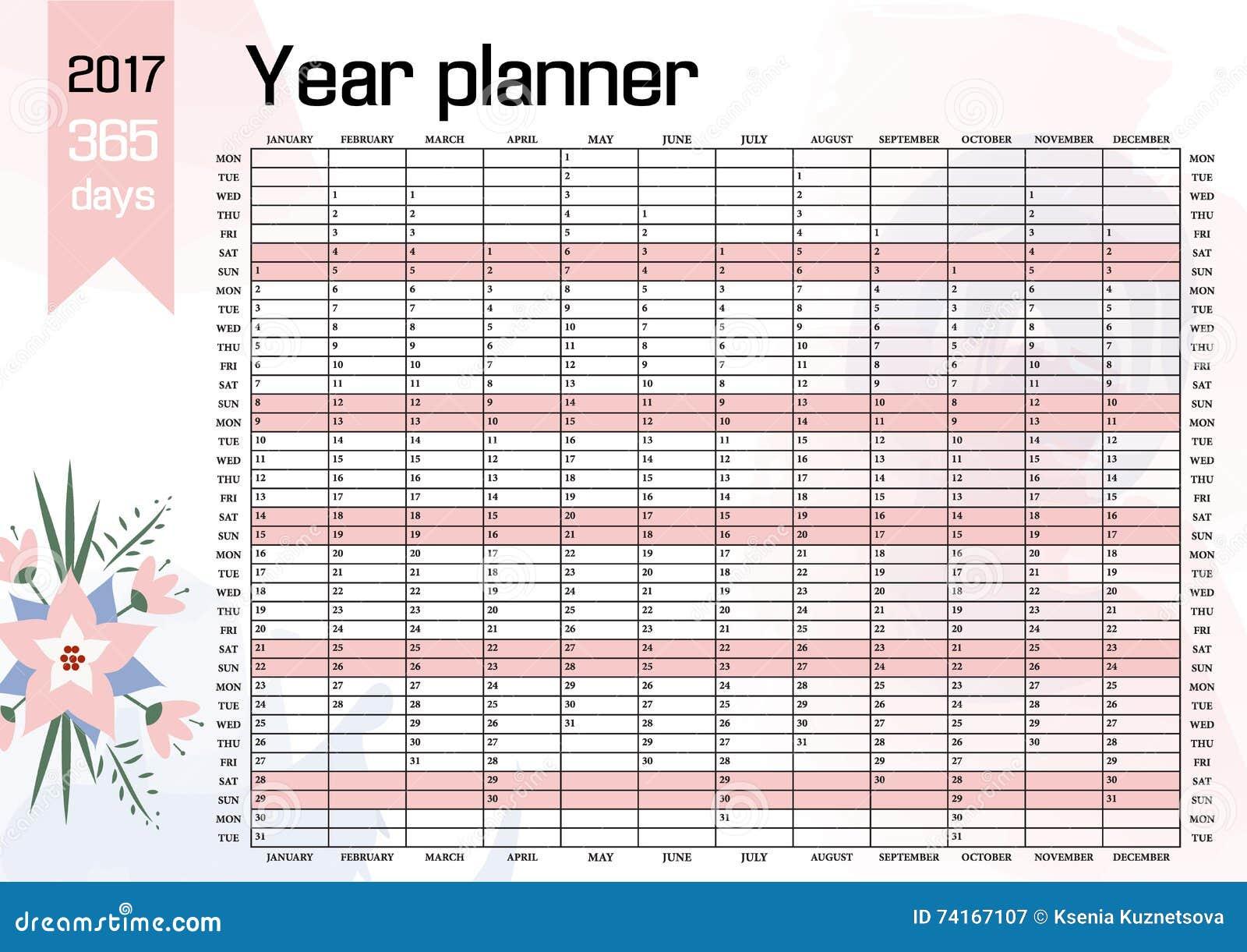 Jahr-Wand-Planer Plan Heraus Ihr Ganzes Mit Diesem 2017 Jährliche ...