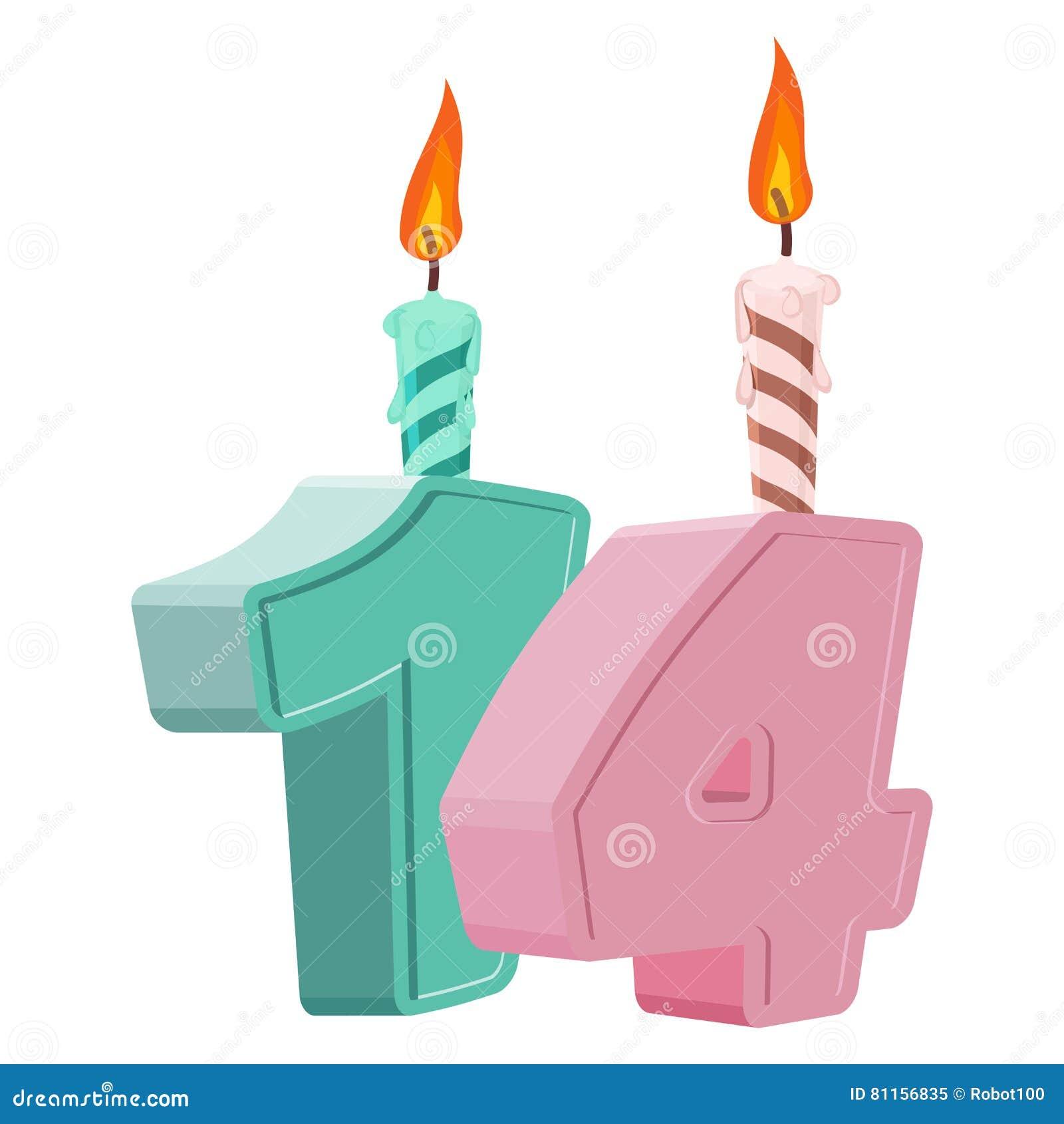 14 Jahre Geburtstag Zahl Mit Festlicher Kerze Für Feiertagskuchen