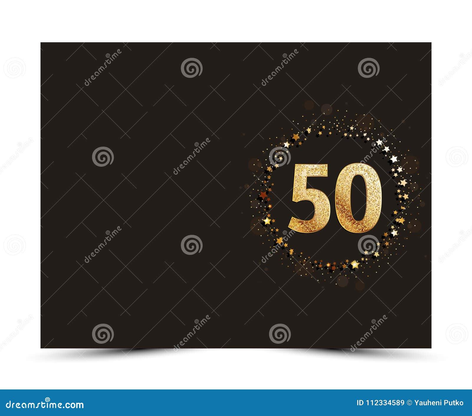 50 Jahre Jahrestag verzierten Gruß-/Einladungskartenschablone mit Goldelementen