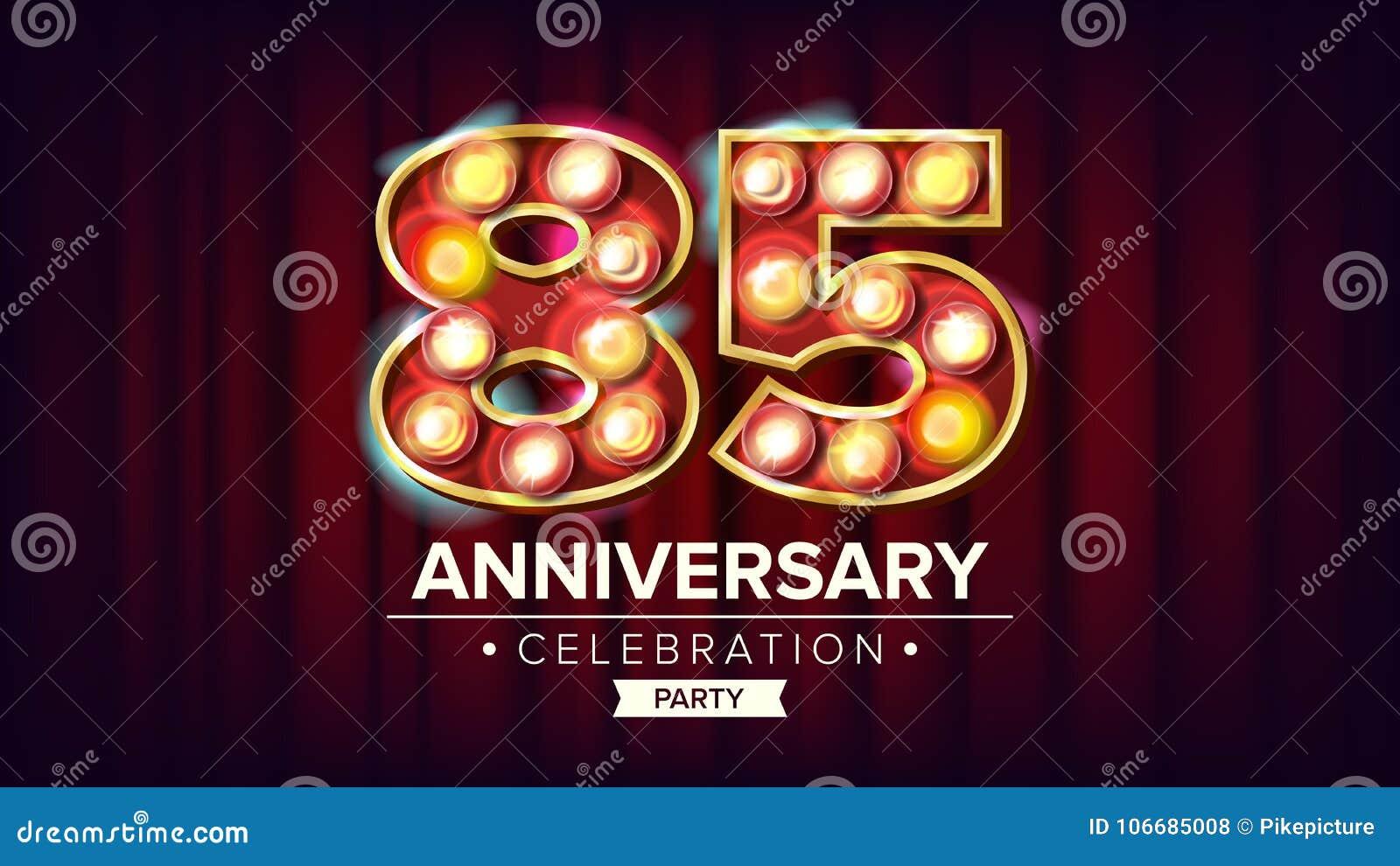 85 Jahre Jahrestags-Fahnen-Vektor- Fünfundachzig, Achtzig-fünfte Feier Glänzende helle Zeichen-Zahl Für Visitenkarten
