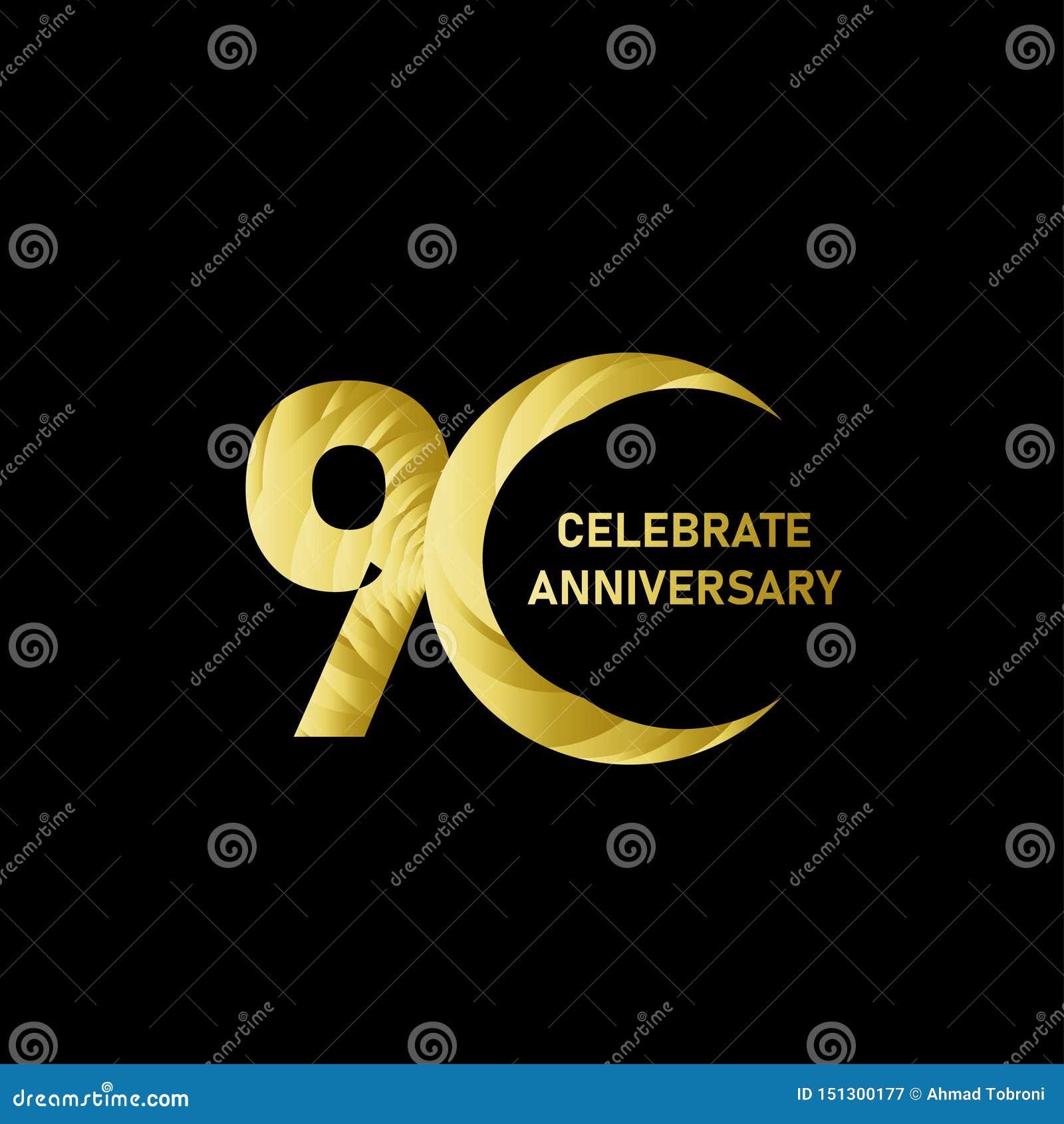 90 Jahre Jahrestags-Vektor-Schablonen-Entwurfs-Illustrations-