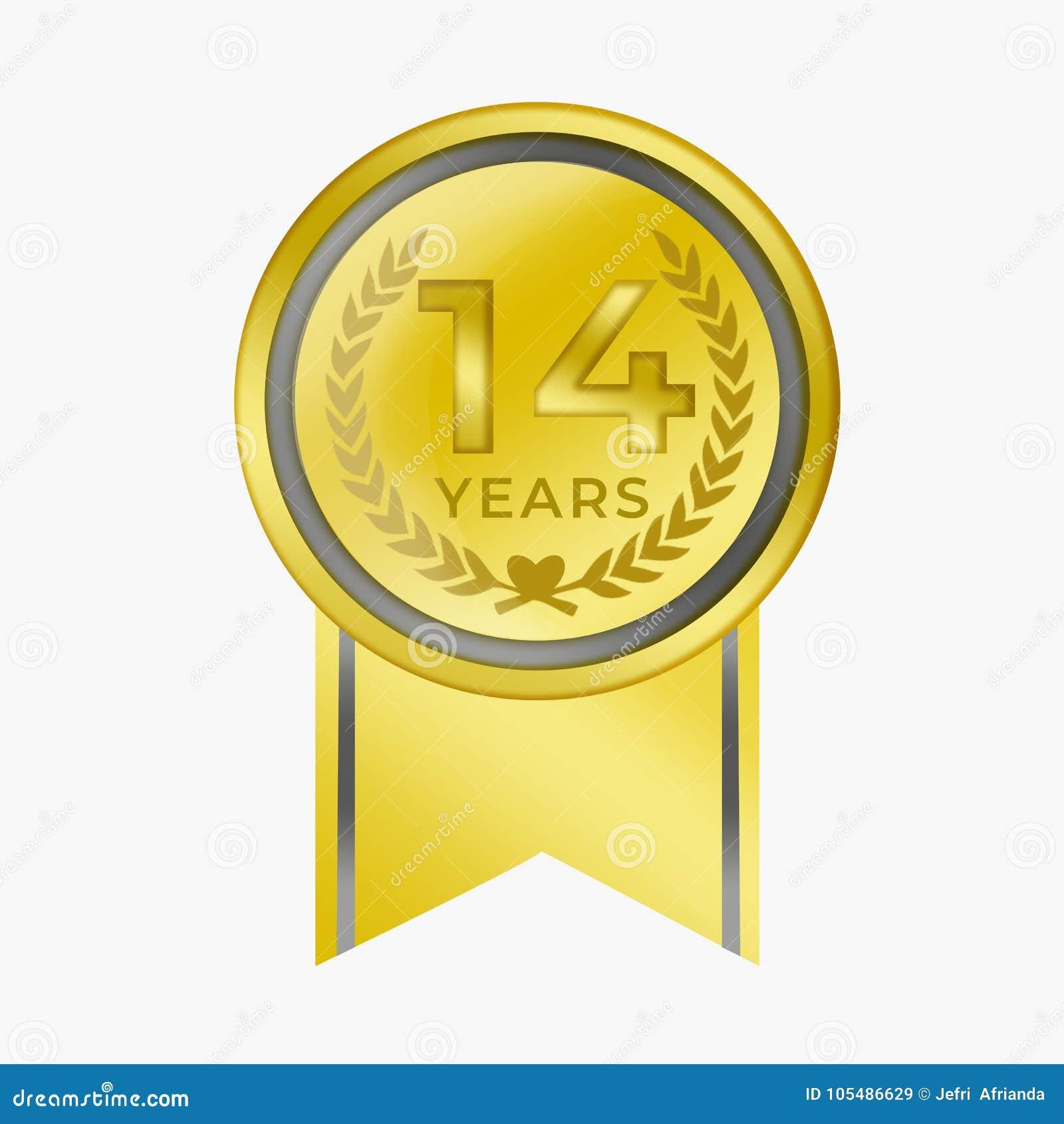 14 Jahre Jahrestagsmünzengoldbescheinigungs Glückwunsch Preis Mit