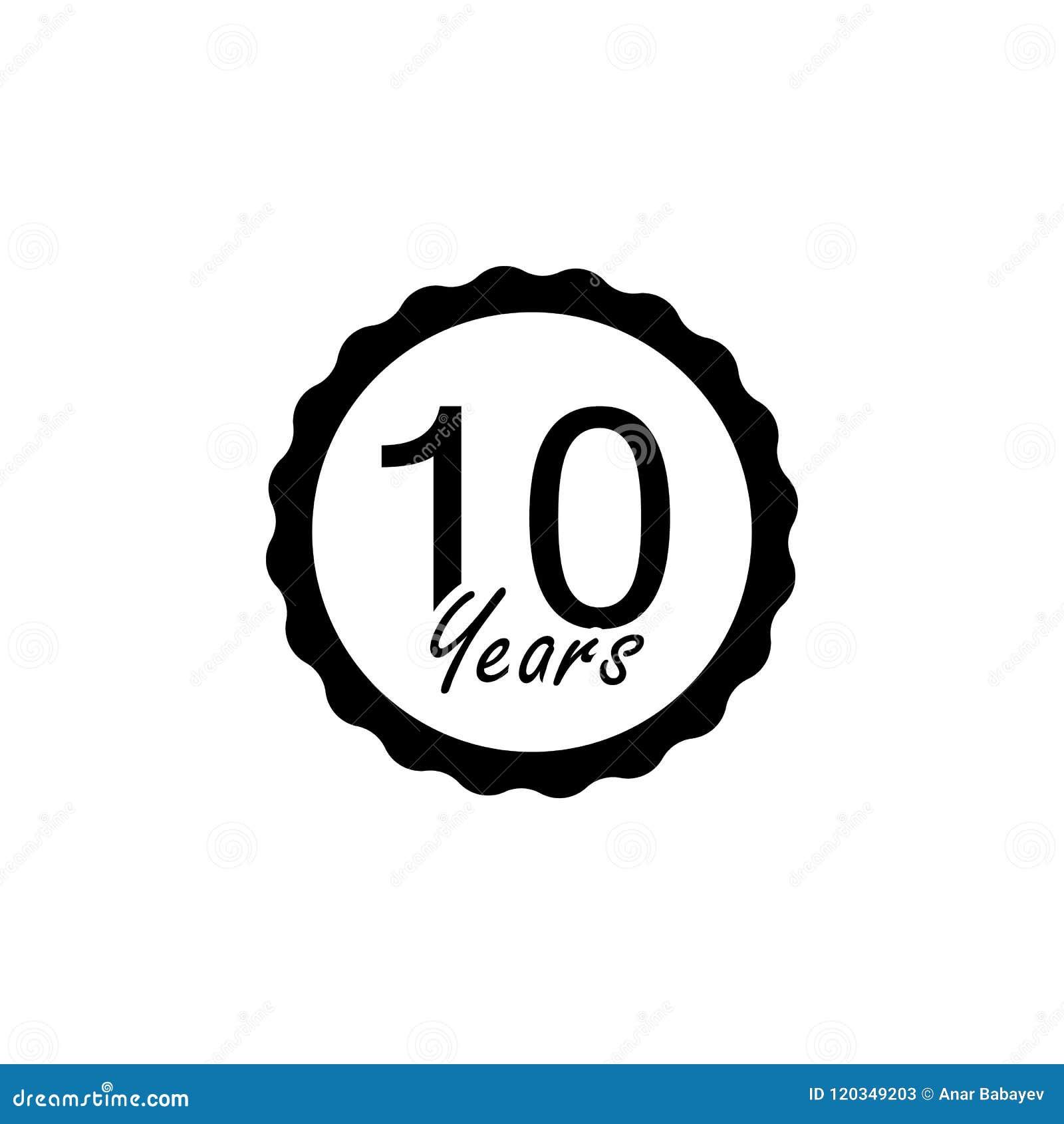 10 Jahre Jahrestagszeichen Element des Jahrestagszeichens Erstklassige Qualitätsgrafikdesignikone Zeichen und Symbolsammlungsikon