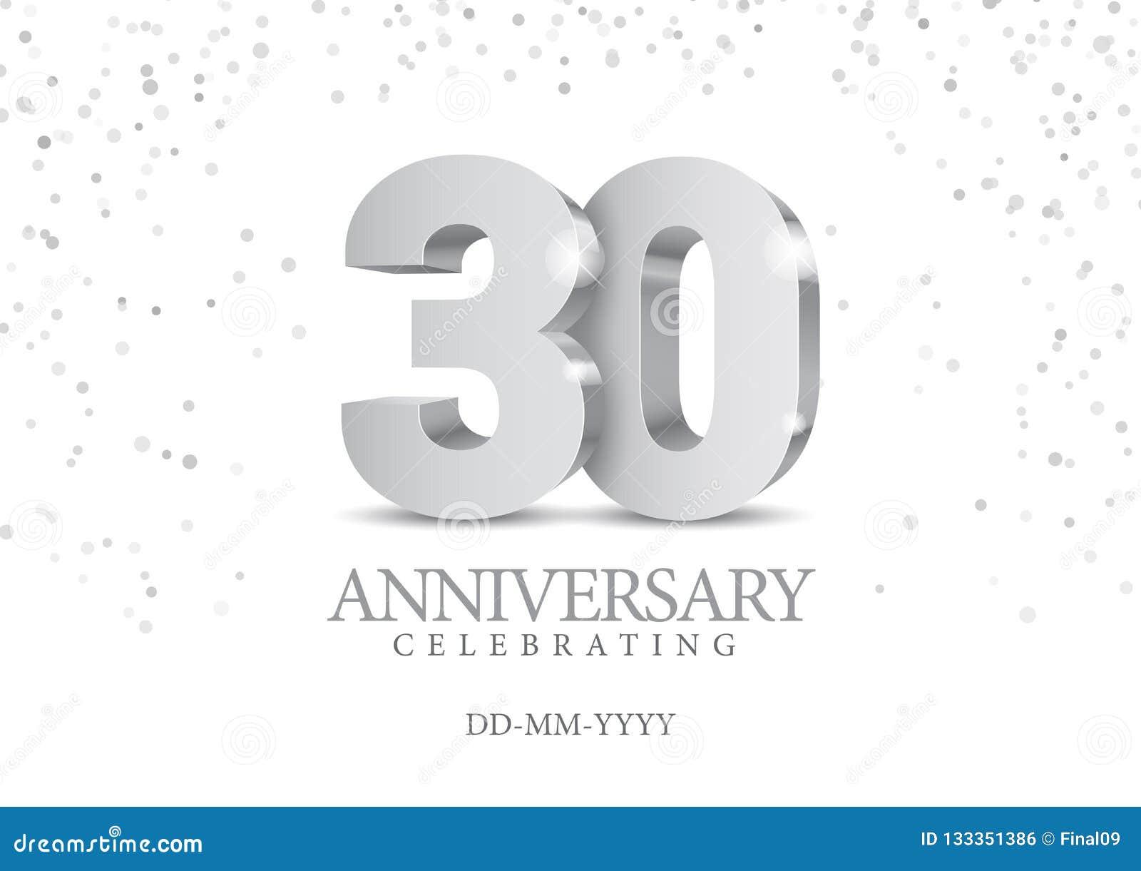 Jahrestag 30 silberne Zahlen 3d