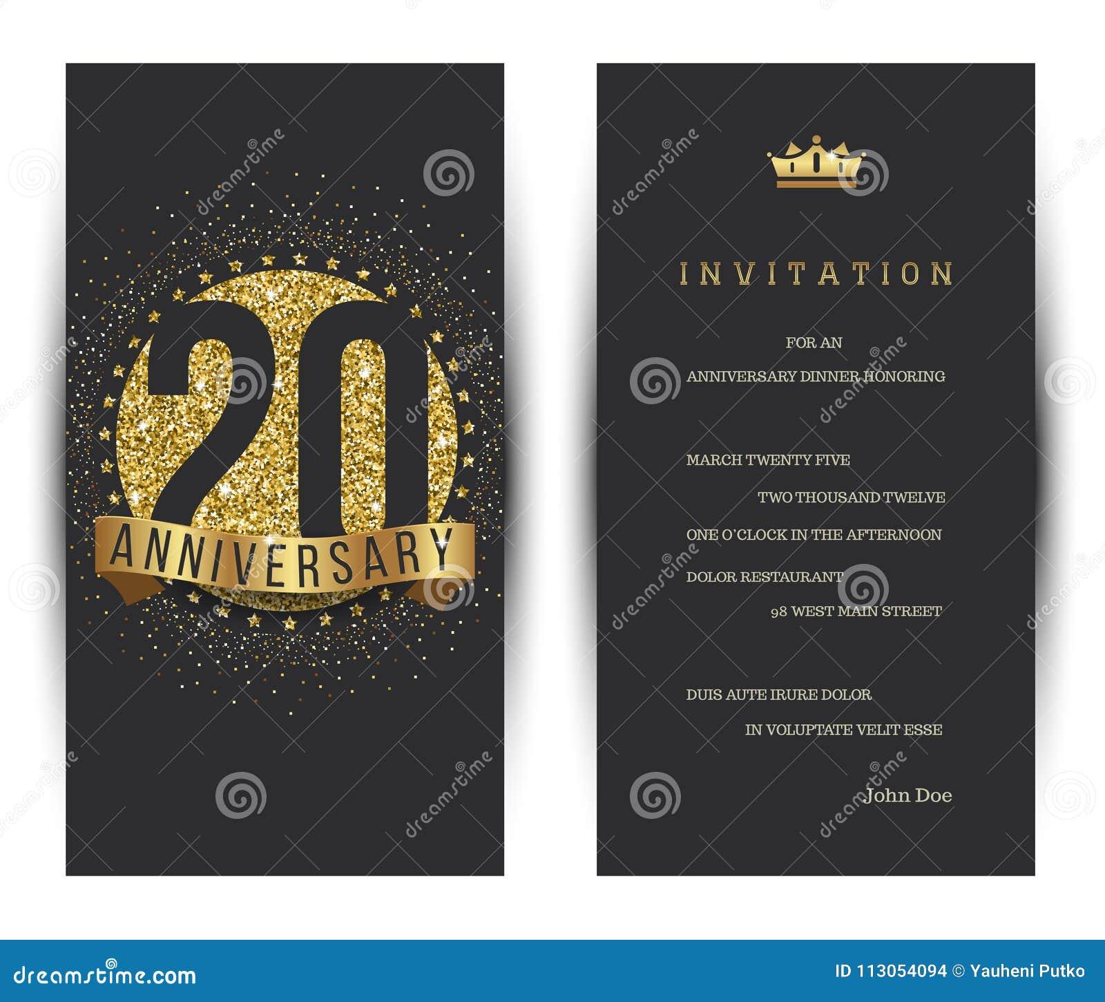 20. Jahrestag verzierte Grußkartenschablone