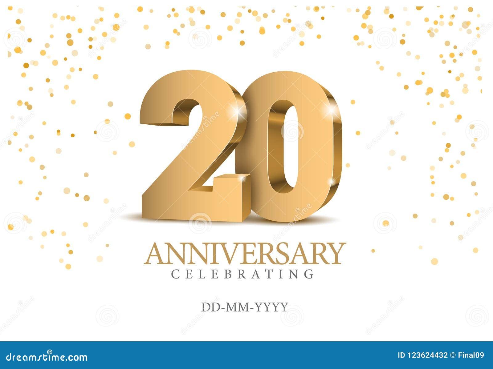 Jahrestag 20 Zahlen des Gold 3d