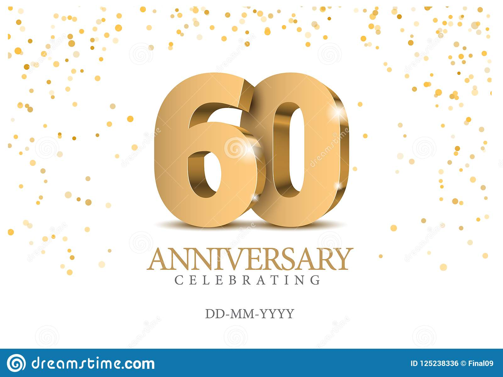Jahrestag 60 Zahlen des Gold 3d