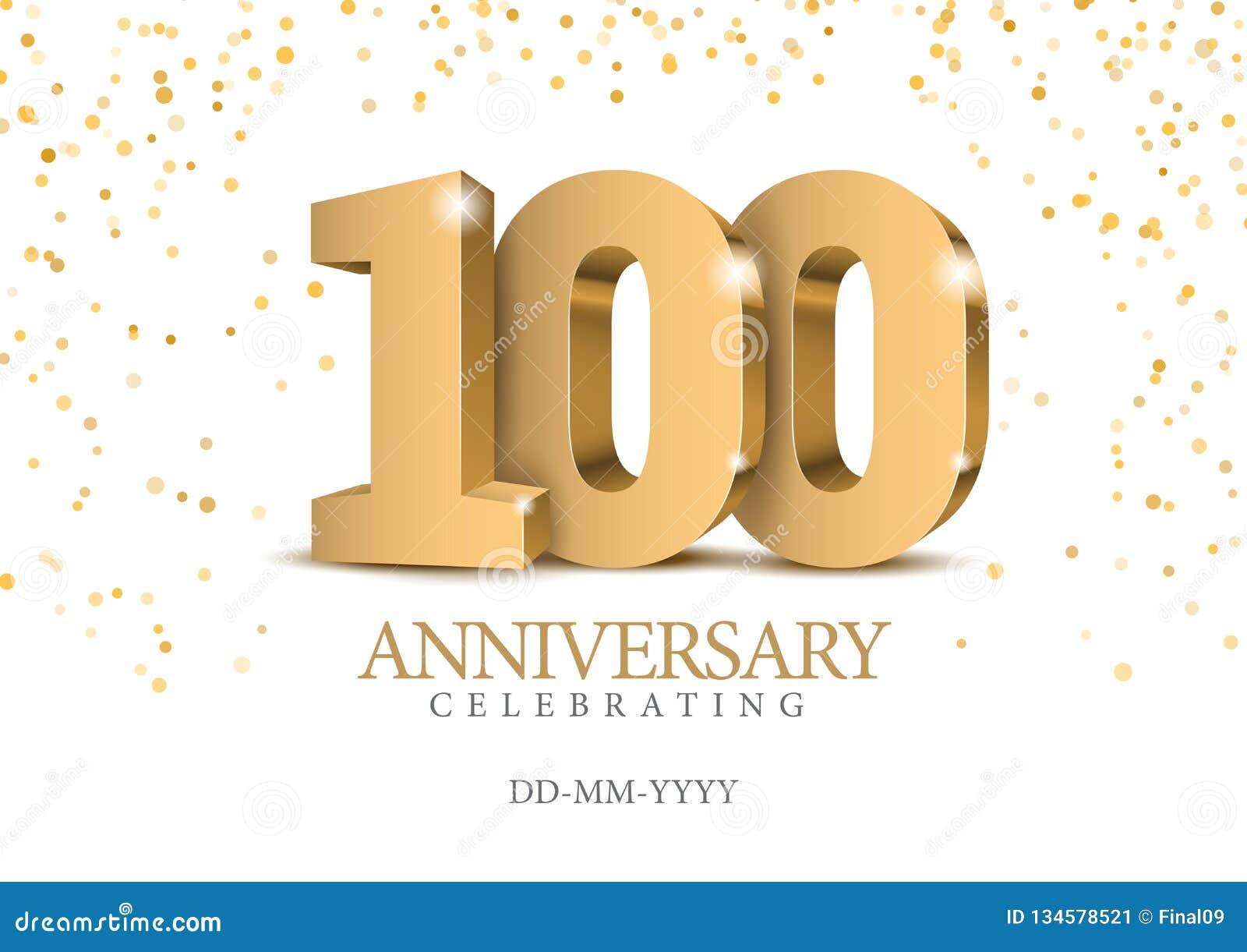 Jahrestag 100 Zahlen des Gold 3d