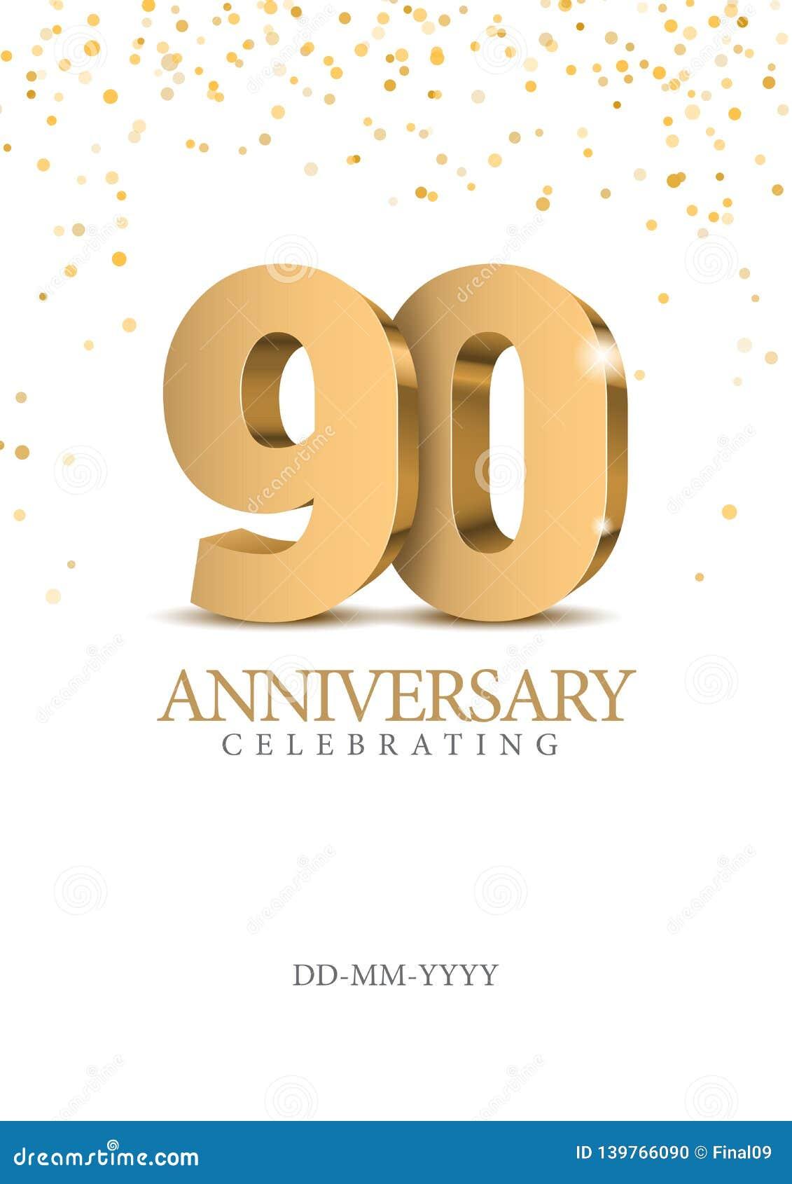 Jahrestag 90 Zahlen des Gold 3d
