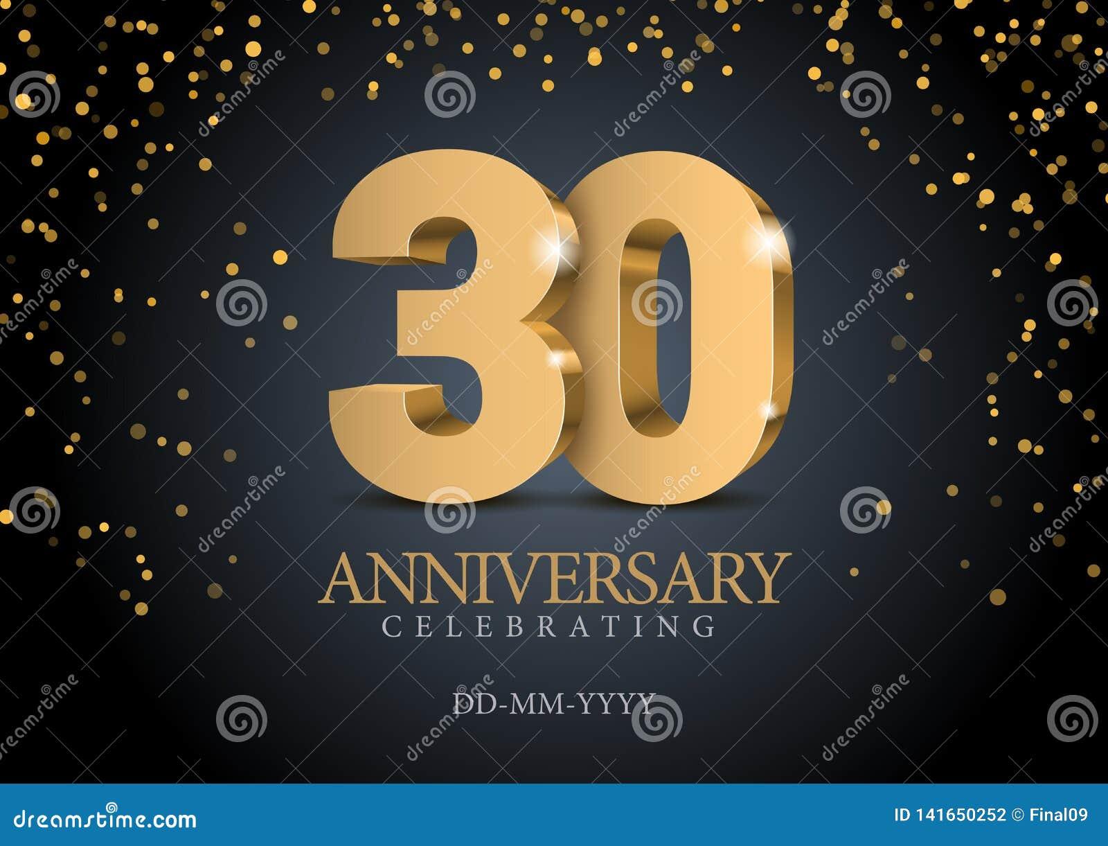 Jahrestag 30 Zahlen des Gold 3d