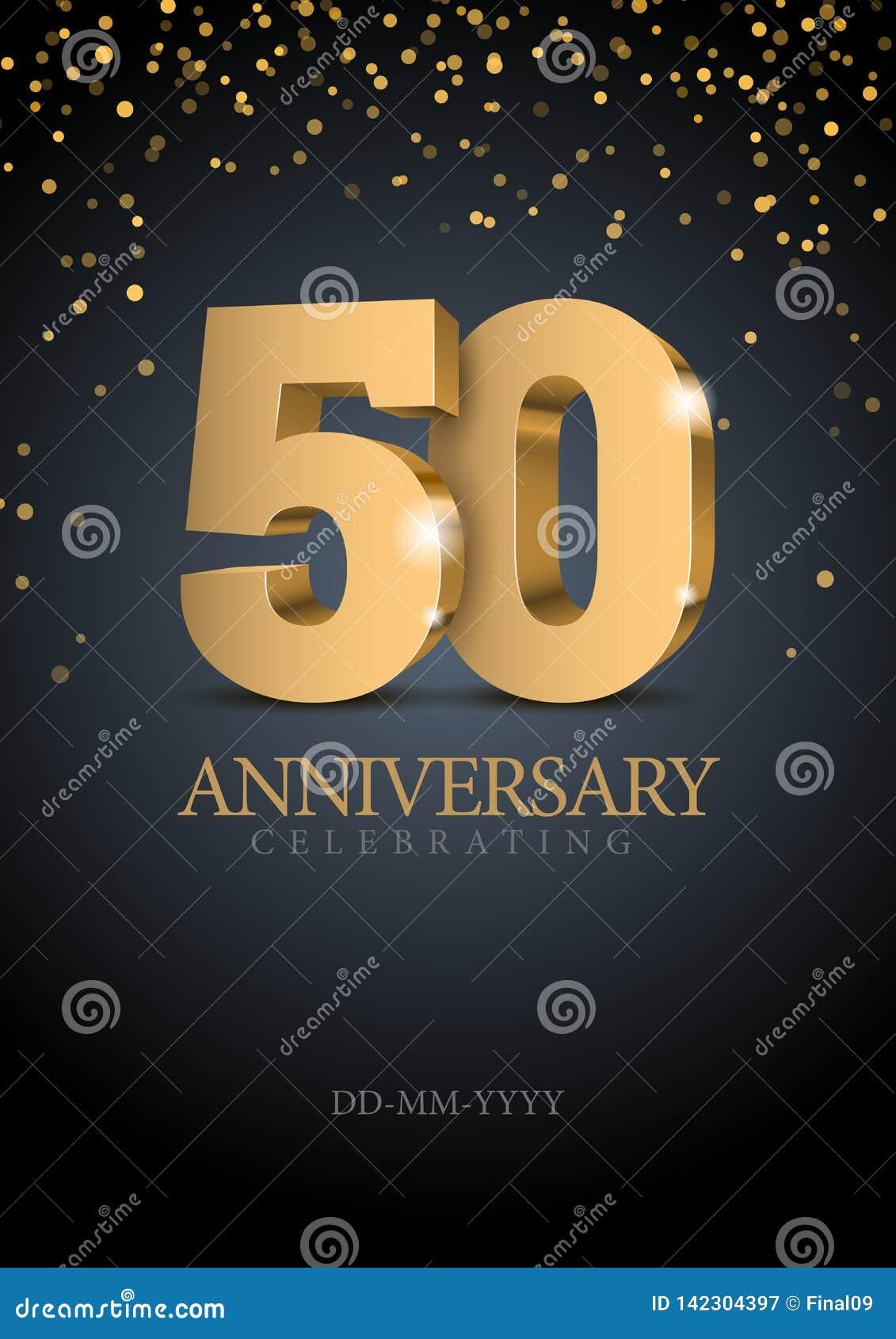 Jahrestag 50 Zahlen des Gold 3d