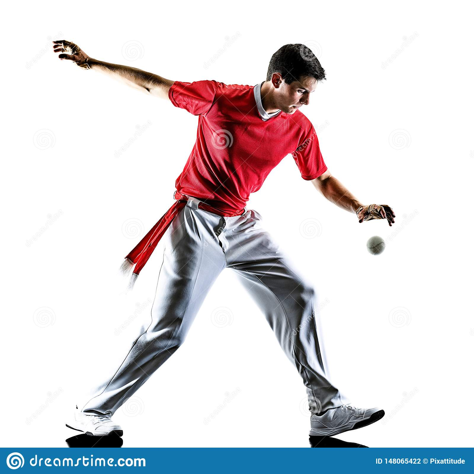 Jai Alai pelota nCesta Punta gracza Baskijski mężczyzna odizolowywał sylwetkę