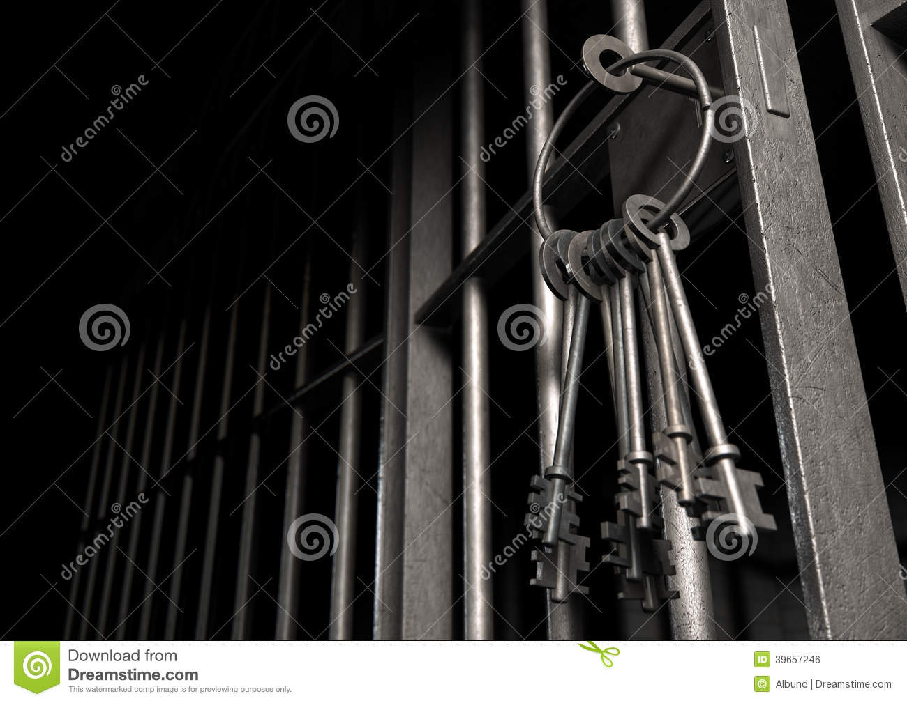 Jail Cell With Open Door And Bunch Of Keys Stock Photo