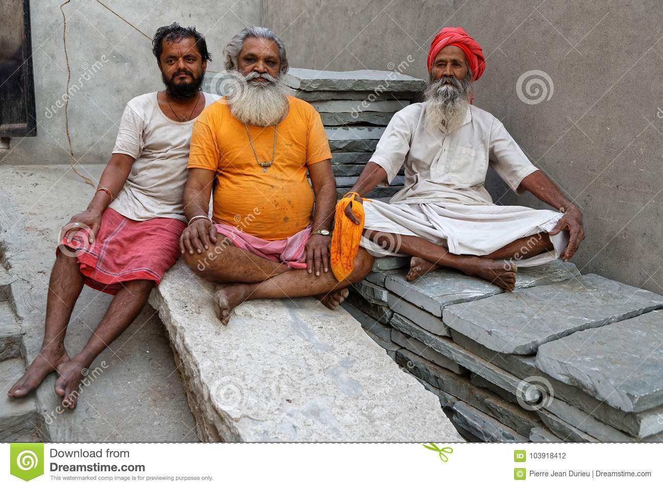 Arresting Sadhus Portrait Photography Religious Photography: Portrait Of Three Sadhus In A Jaipur Ashram Editorial