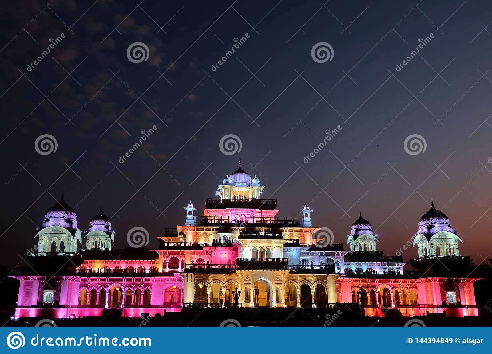 Jaipur`s Albert Hall Museum at Night
