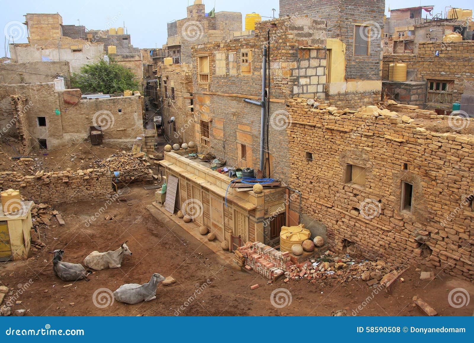 Jaisalmer堡垒的,印度住宅房子