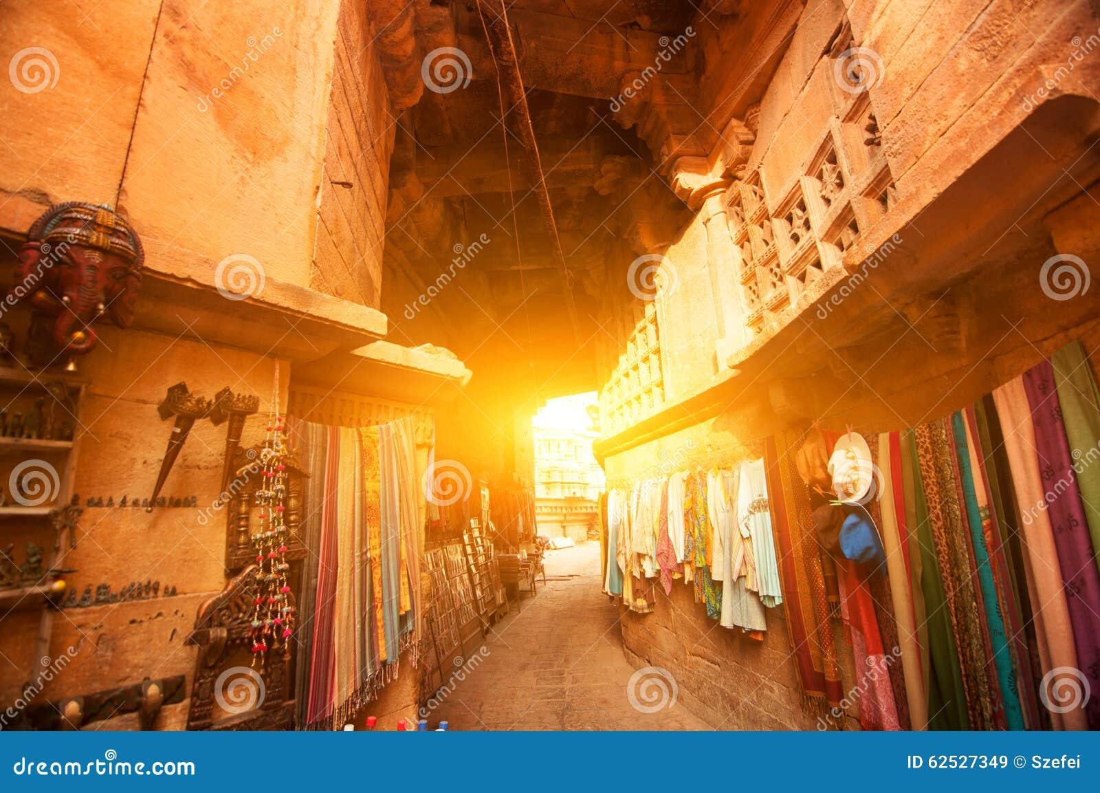 Jaisalmer堡垒购物街道