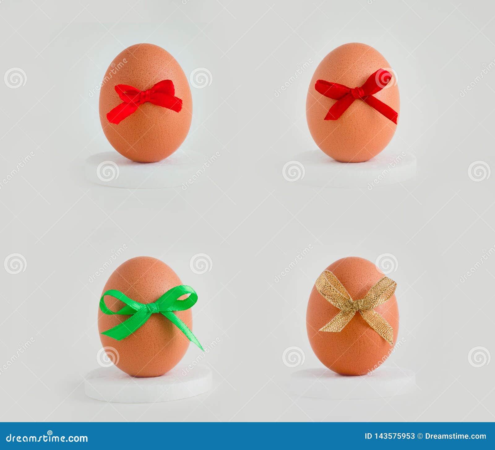 Jajko z wystrojem na białym tle