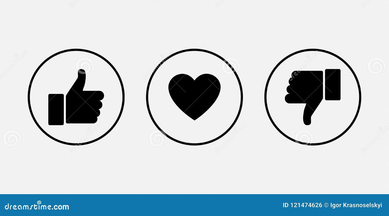 Jak ikony Kciuk z w górę i na dół serca, wektorowe ikony