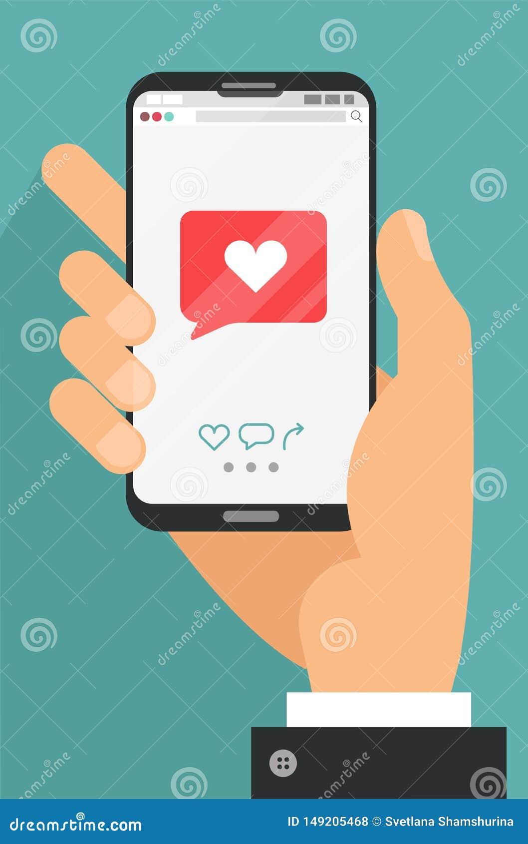 Jak mobilny mobilny pojęcie Męski ręki mienia smartphone z kierową emoji wiadomością na ekranie, jak guzik Mi?o?ci wyznanie, jak