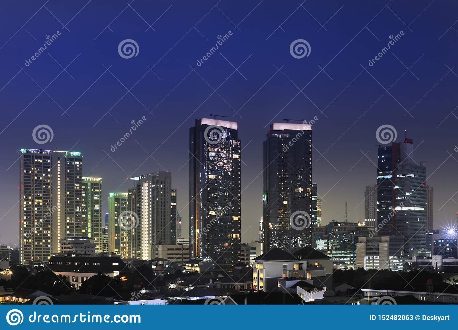 Jakarta City At Night With Residential And The Beauty Of ...