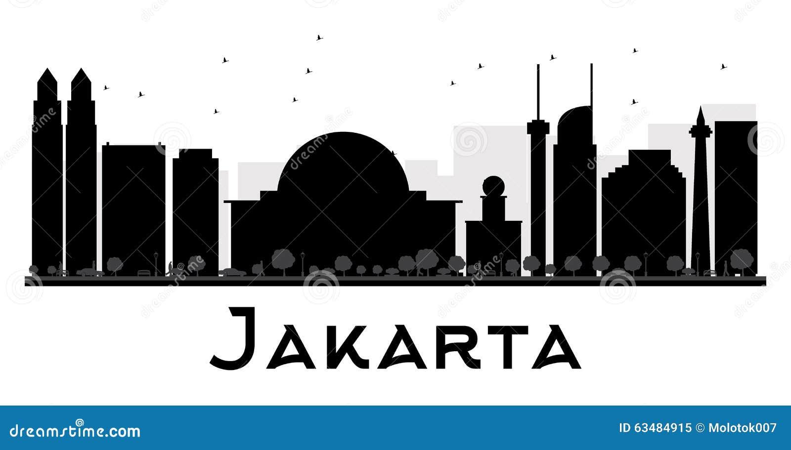 Jakarta City Skyline Black And White Silhouette