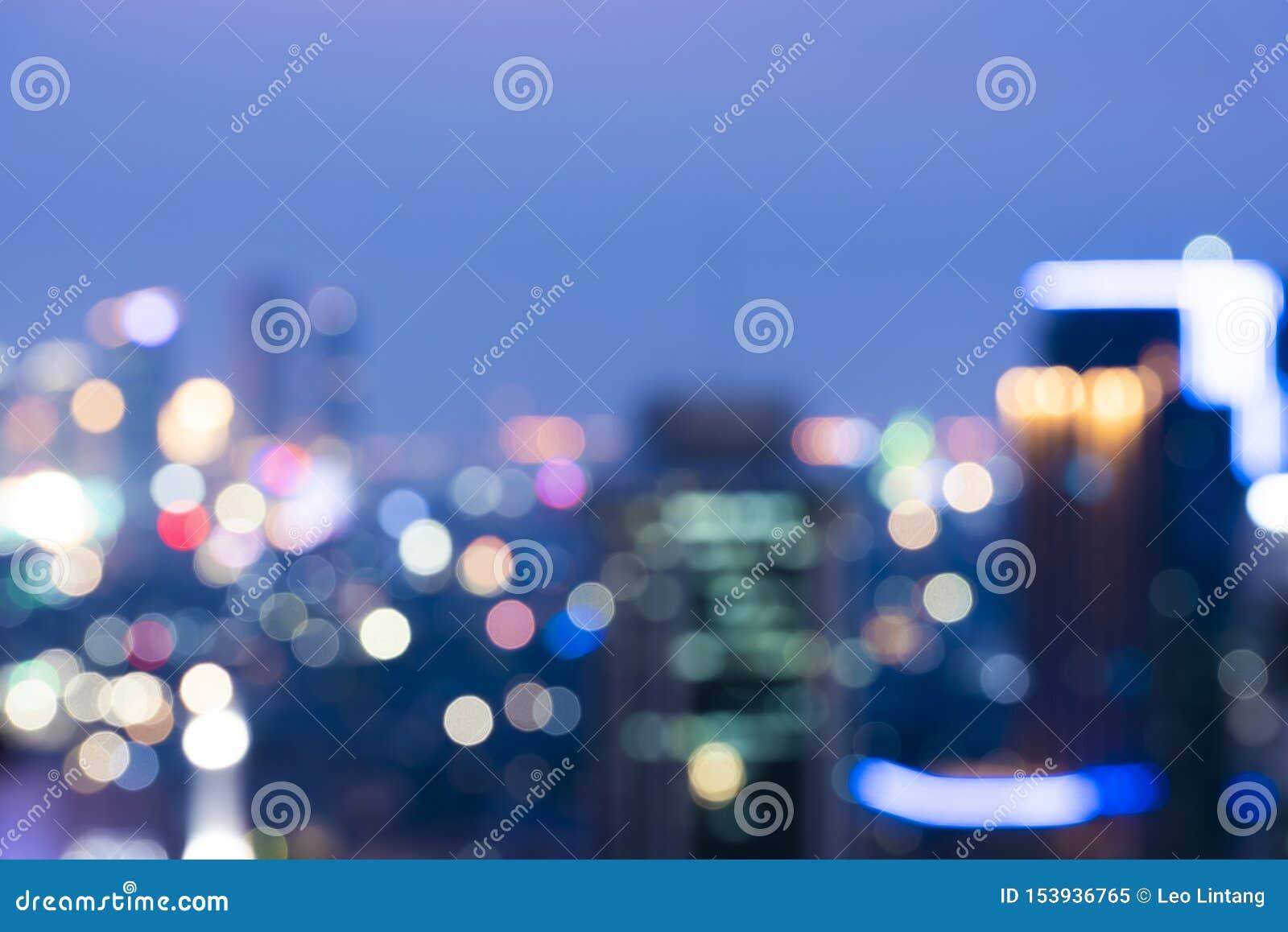 Jakarta City Skyline With Blurred Lights At Night Stock ...