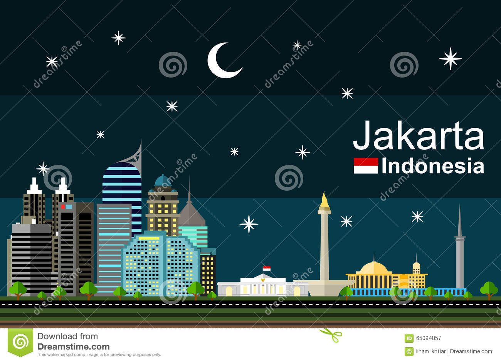 Jakarta Cityscape At Night Stock Vector Image