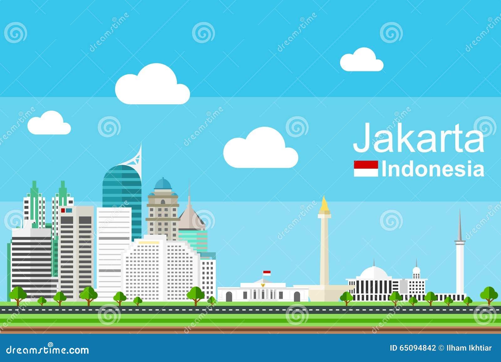 Jakarta Cityscape Stock Vector Image