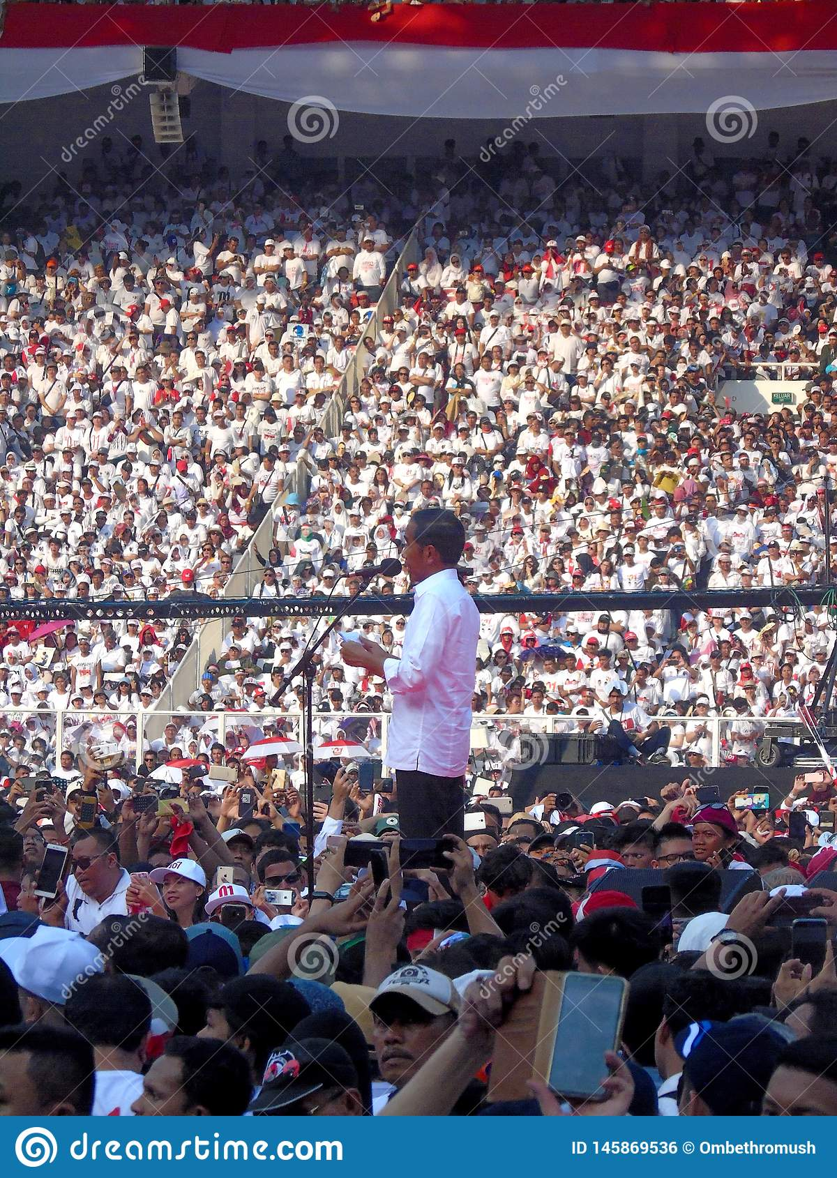 Candidates for President Joko Widodo campaign in front of hundreds of thousands of supporters at GBK Senayan.