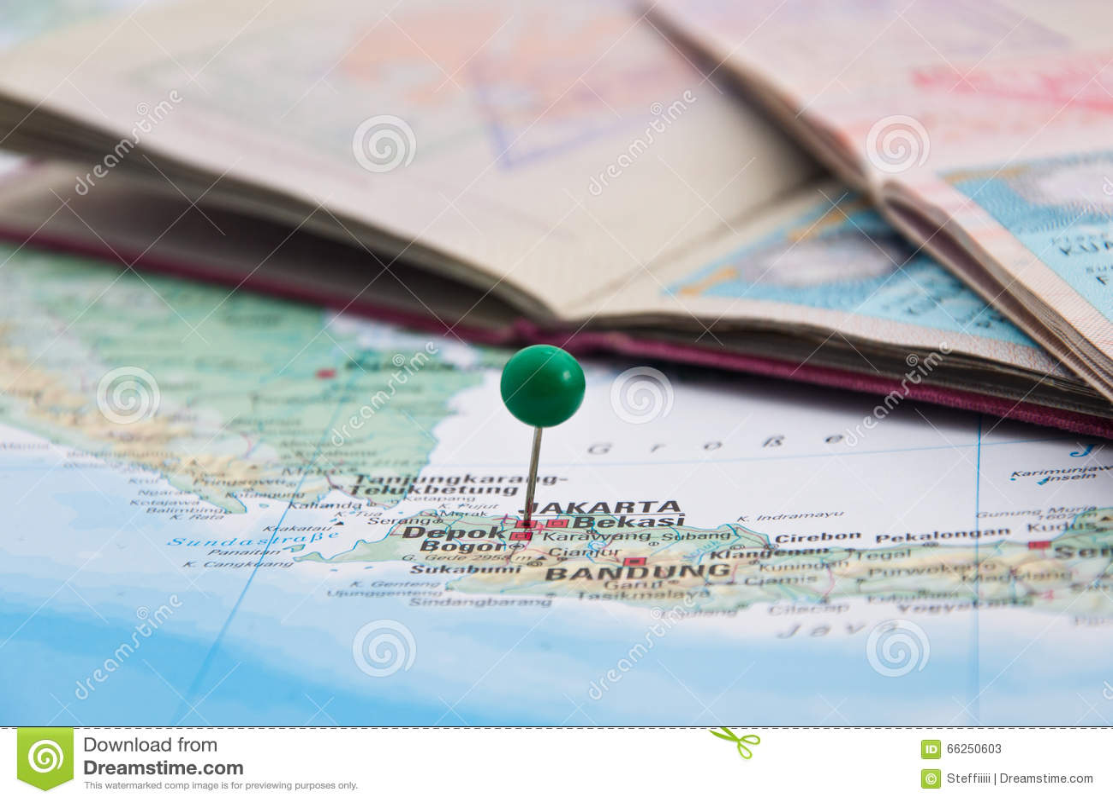 Jakarta, Java, Indonesia, GreenPin and Passport, Close-Up of Map